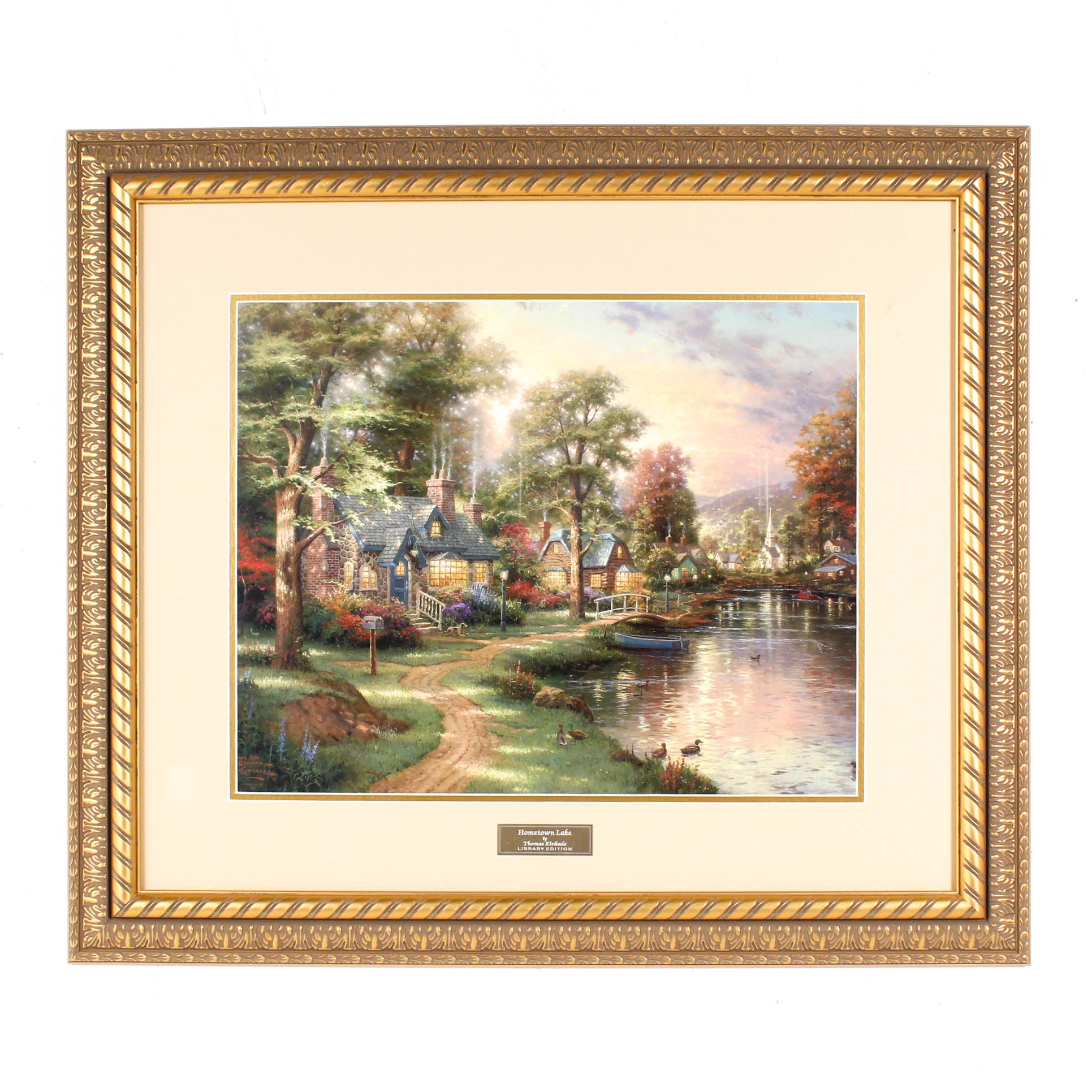 """Hometown Lake"" Library Edition Offset Lithograph After Thomas Kinkade"