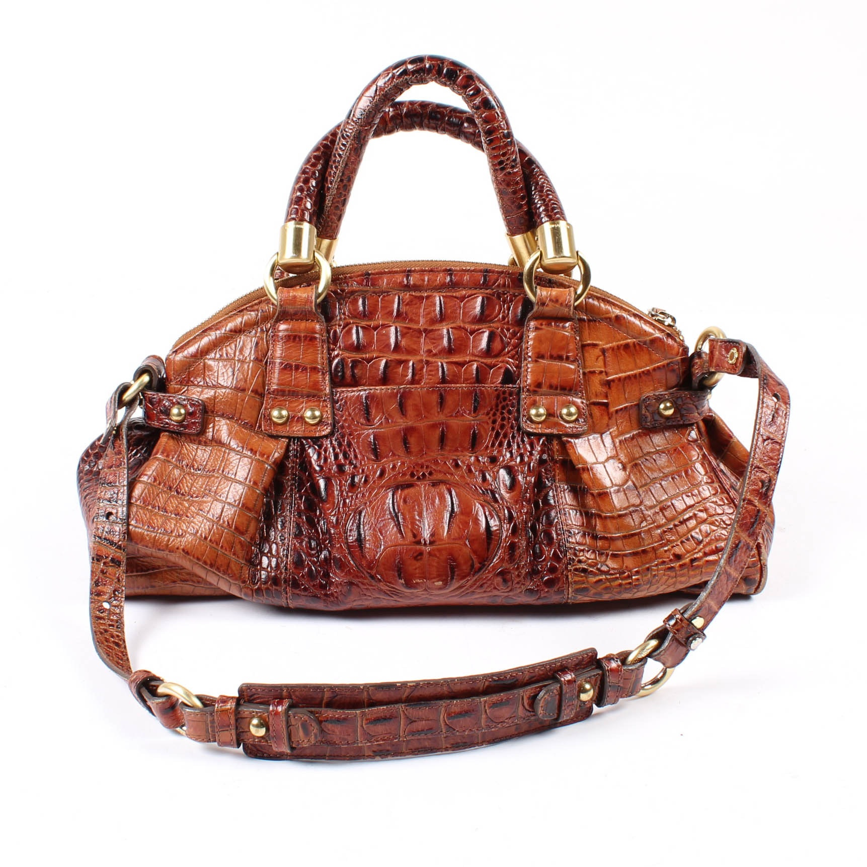 Brahmin Crocodile Embossed Leather Handbag with Shoulder Strap