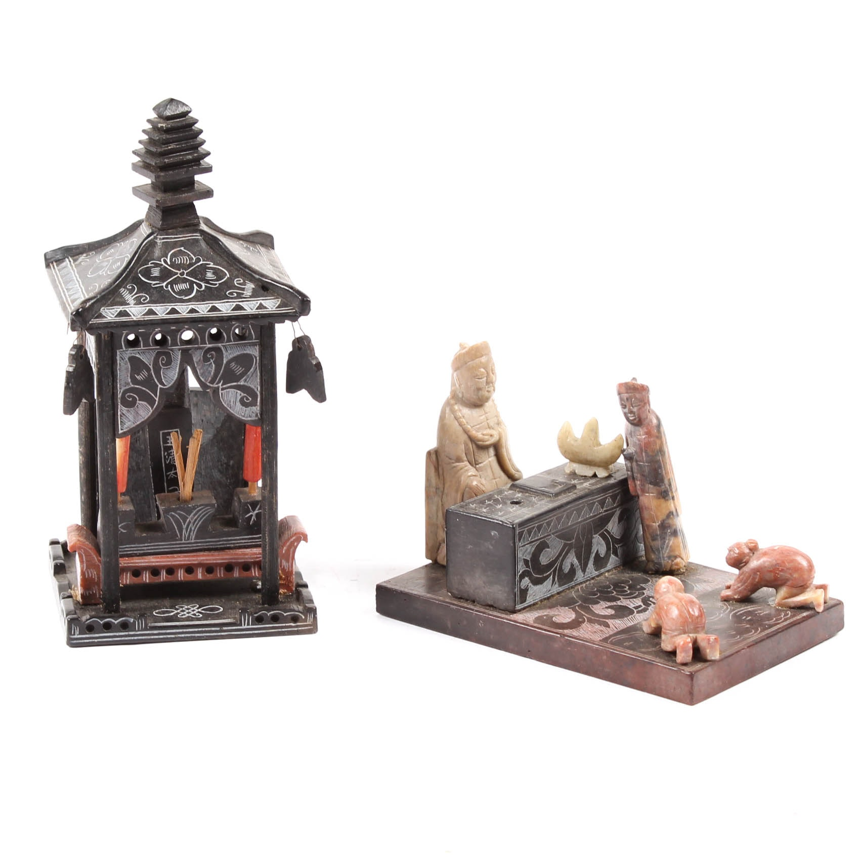 Chinese Altar and Temple Soapstone Figurines Circa Late 1800's