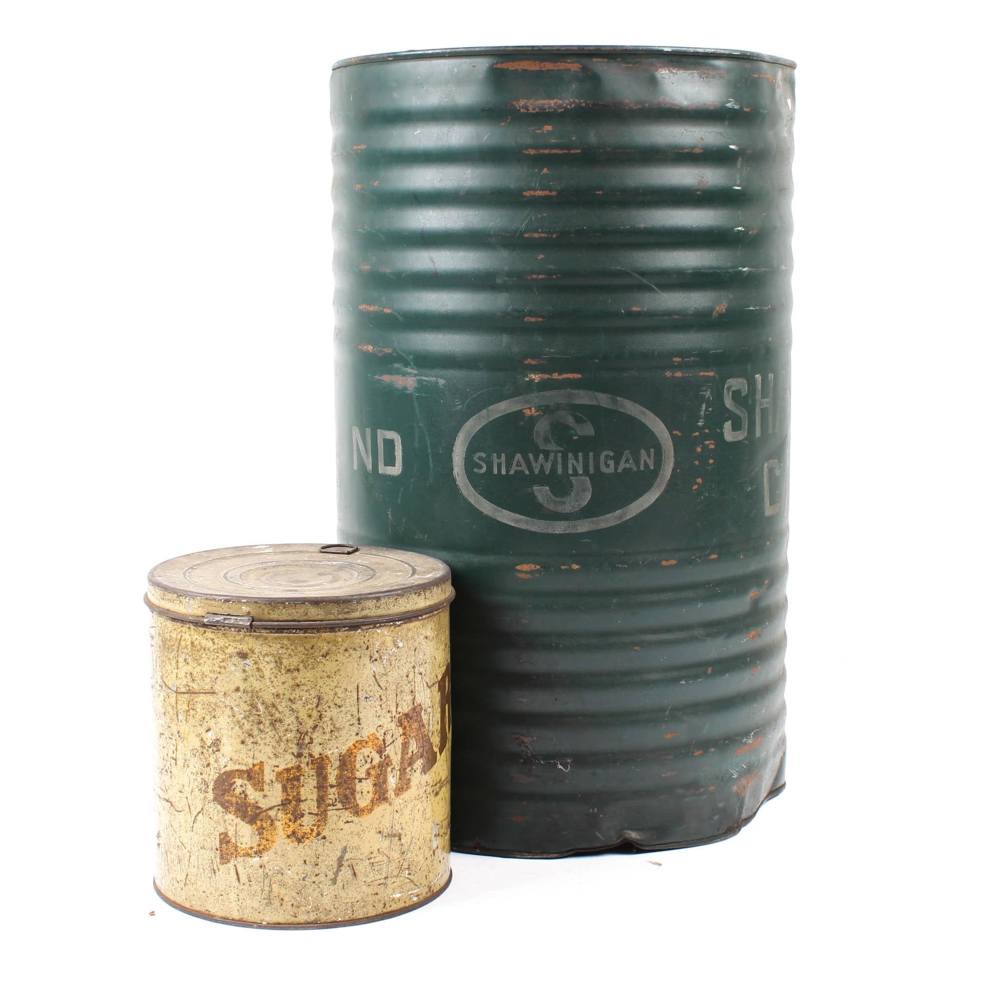 Vintage Shawinigan Carbide Metal Drum and Sugar Tin