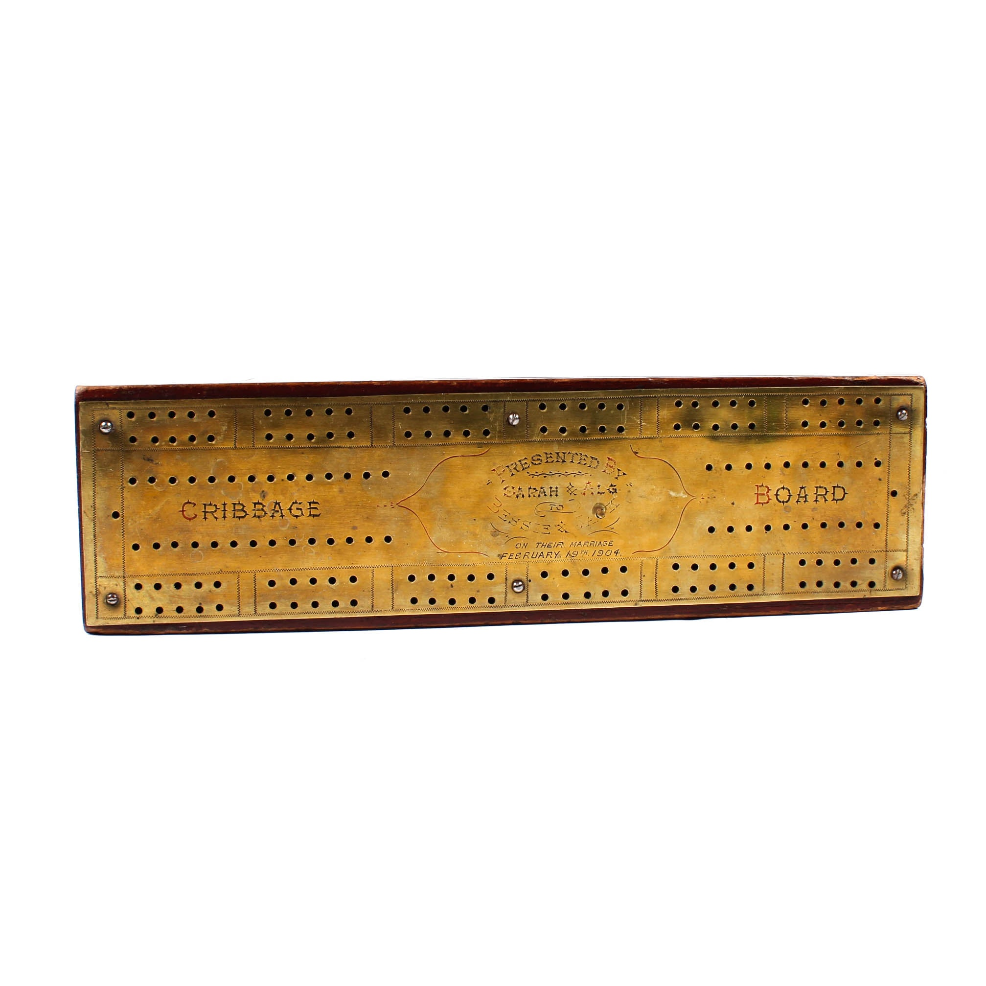 Antique 1904 Presentation Cribbage Board