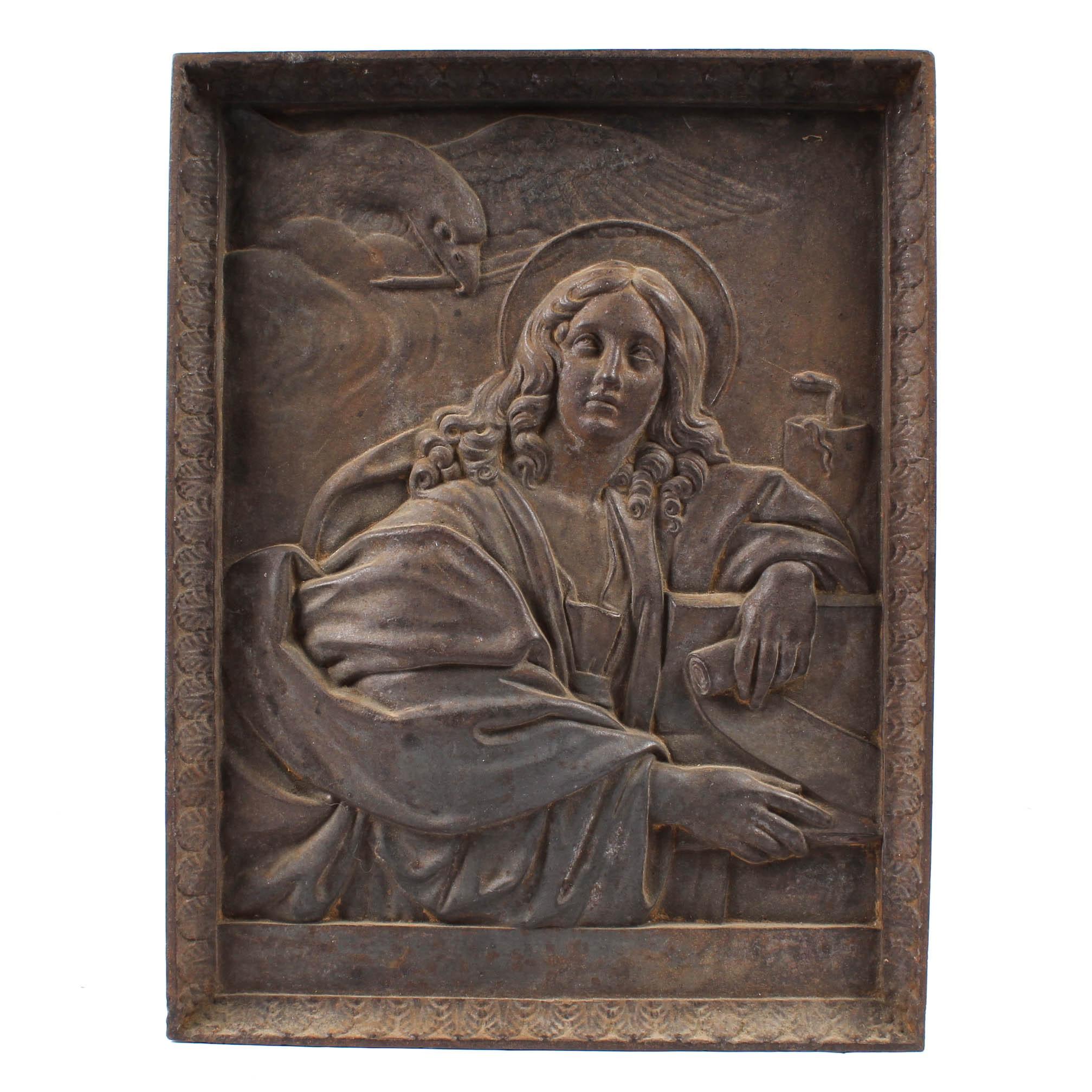 Antique John the Evangelist Cast Iron Plaque from Berlin Germany