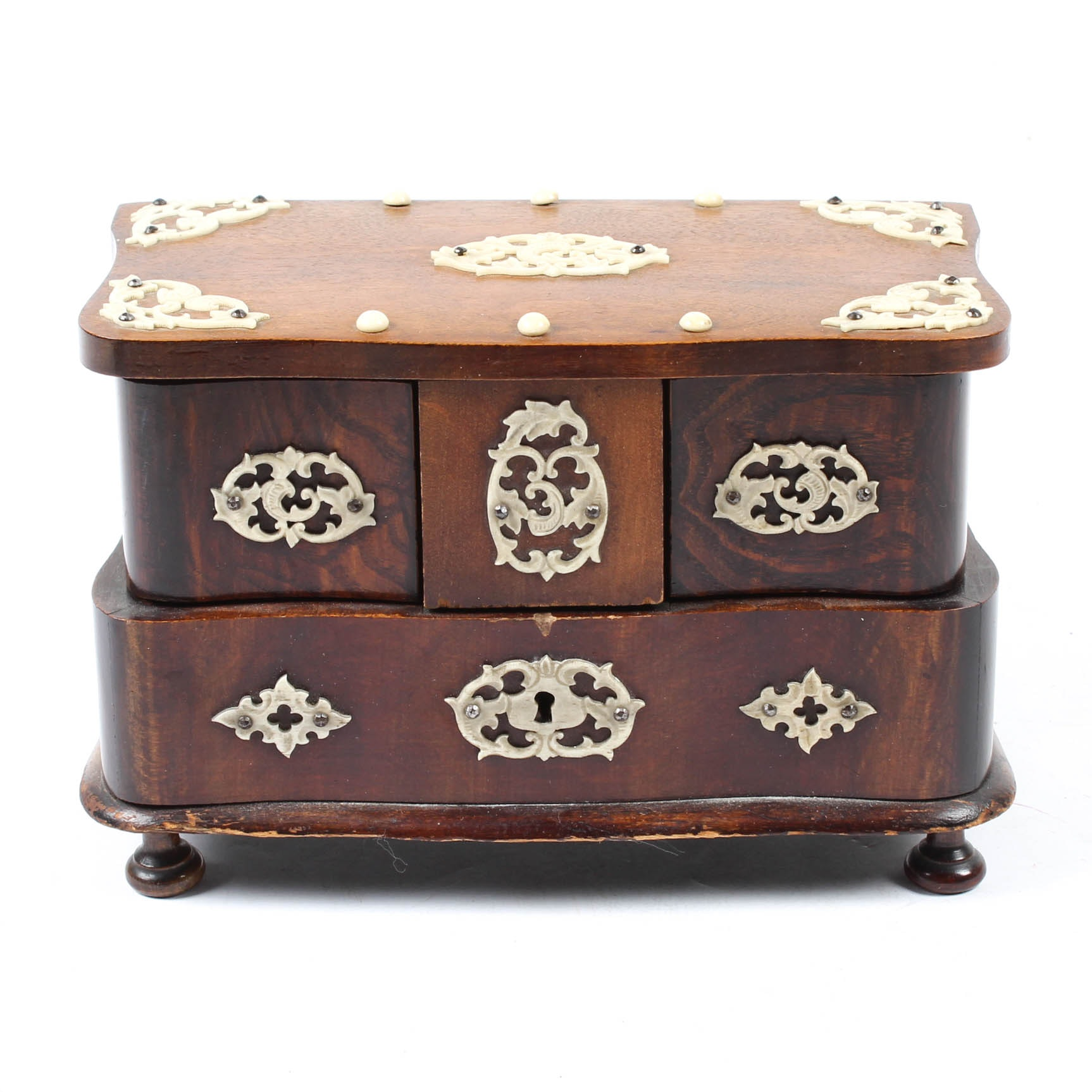 Anglo Indian Wood Jewelry Box, Satin Lined Accented with Bone