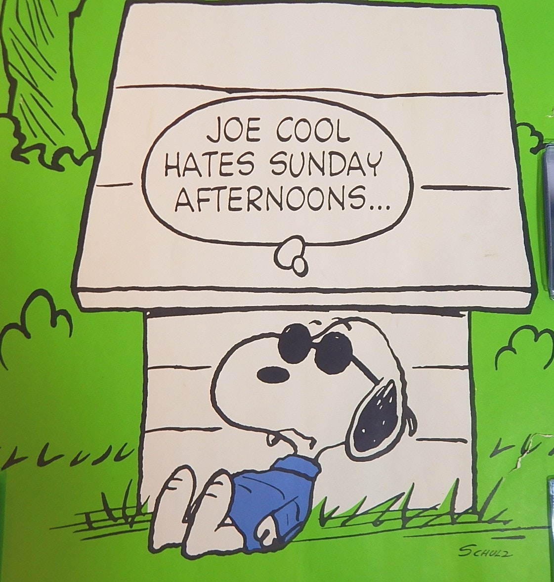 "Vintage United Features Syndicate Snoopy ""Joe Cool"" 20""x 28"" Poster"