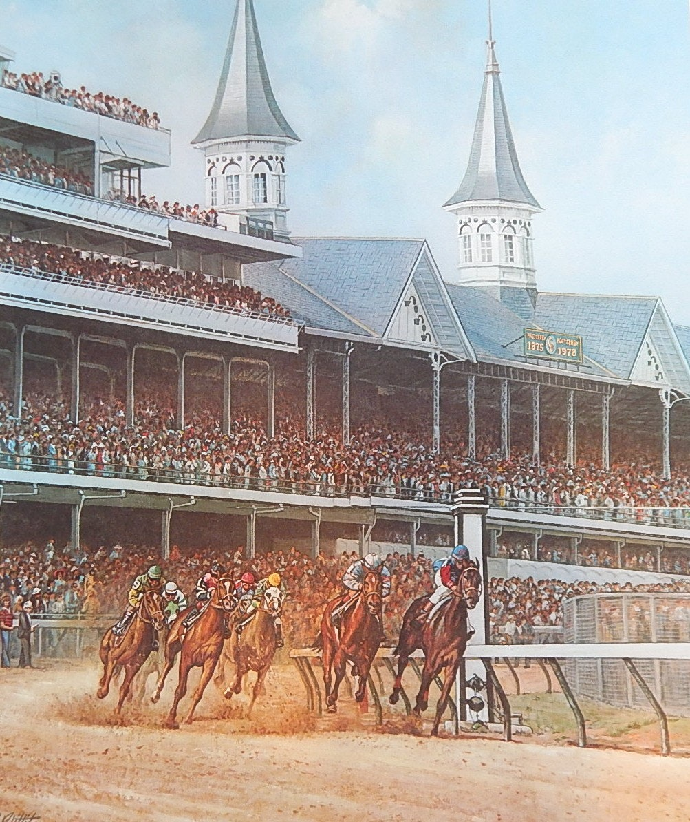"Unframed C. W. Vittitow Signed Limited Offset Lithograph ""The Kentucky Derby"""