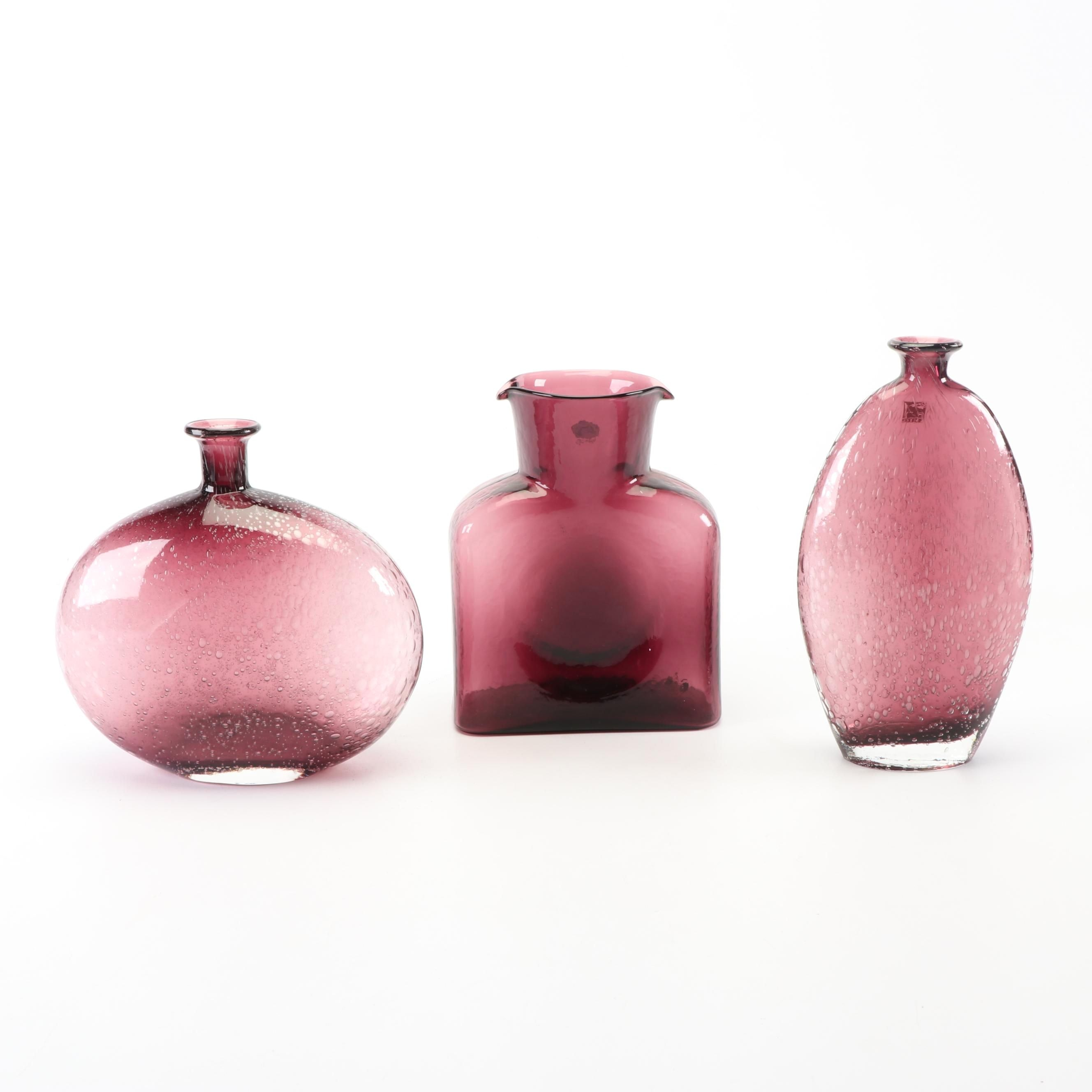 Blenko Amethyst Art Glass Pitcher with Amici Vases