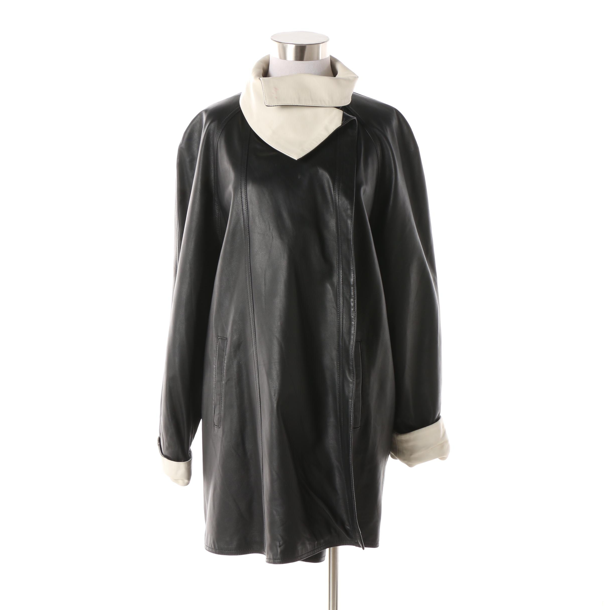 Women's Vintage Vera Pelle Black Leather Swing Coat with White Trim