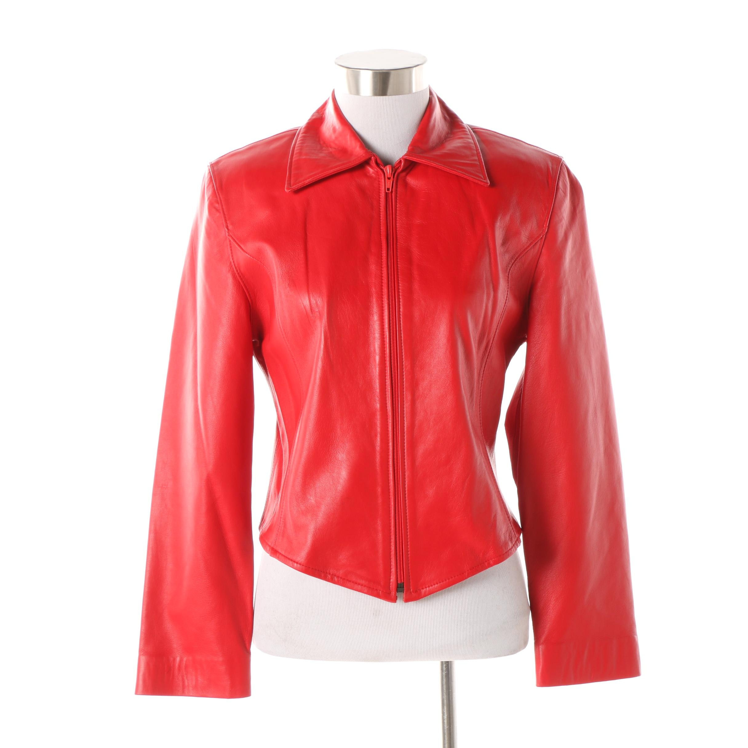 Women's Leather Renditions by Sandi Red Leather Jacket