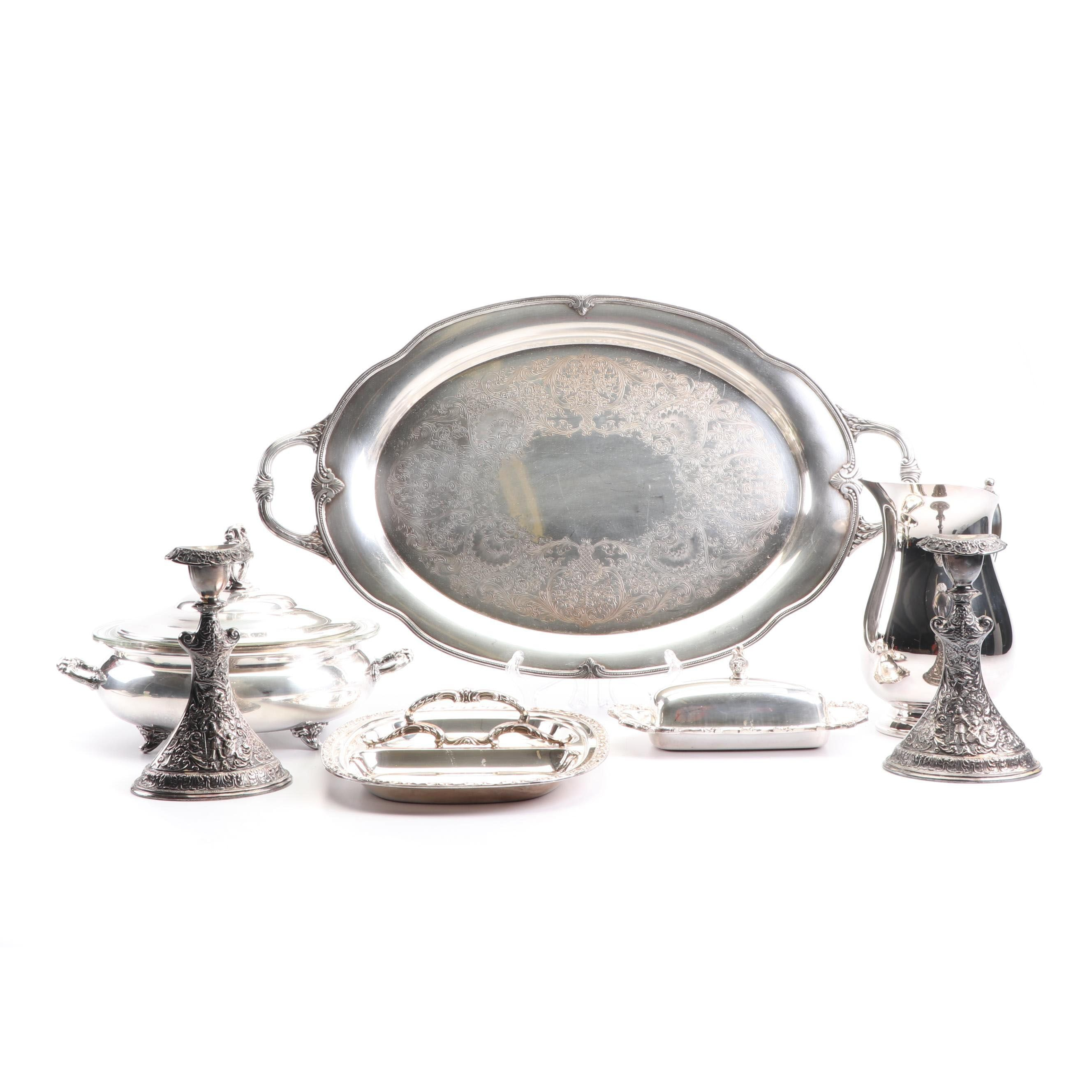 "Rogers ""Moonbeam"" Serving Tray with Other Silver Plate Tableware, Mid-Century"