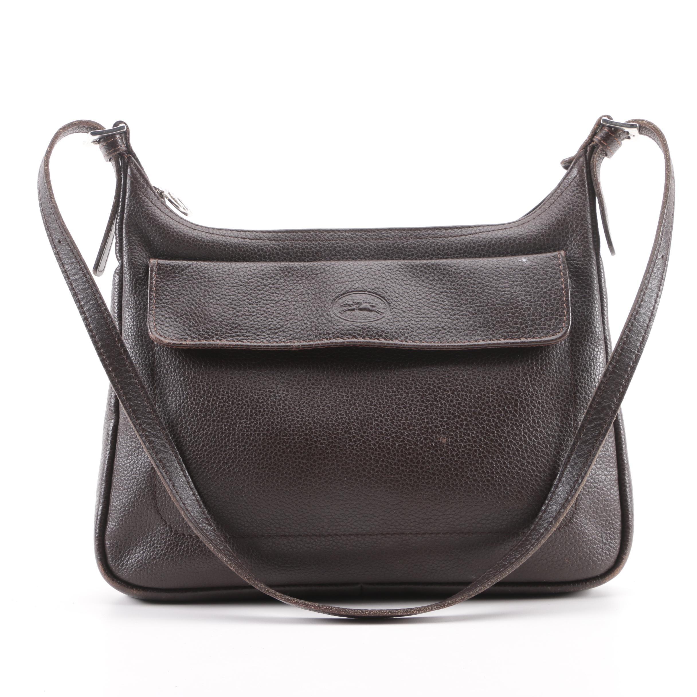 Longchamp Paris Brown Pebbled Leather Shoulder Bag