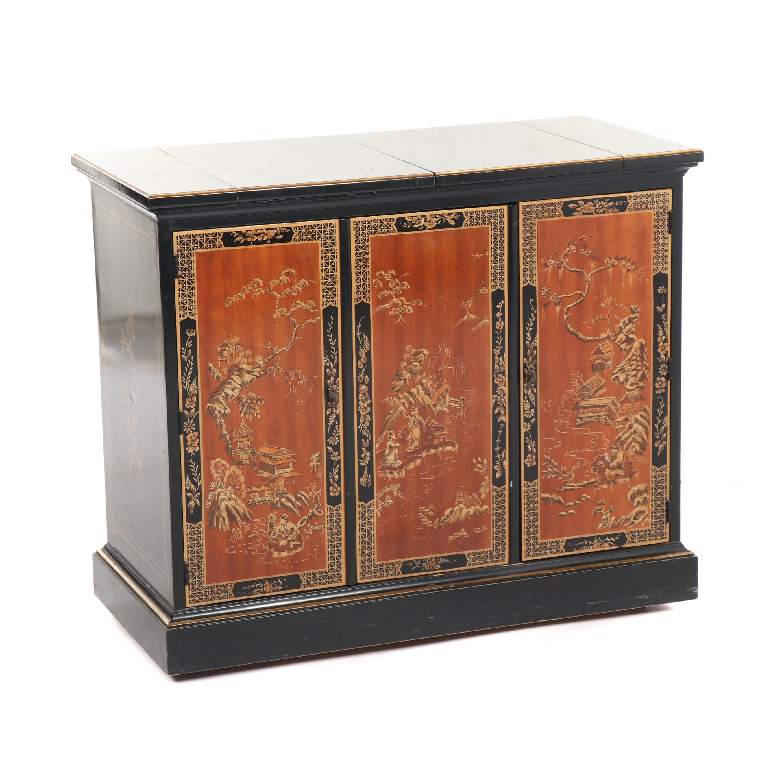 Chinese Style Black Lacquer Wood Drop Leaf Buffet by Drexel, Late 20th Century