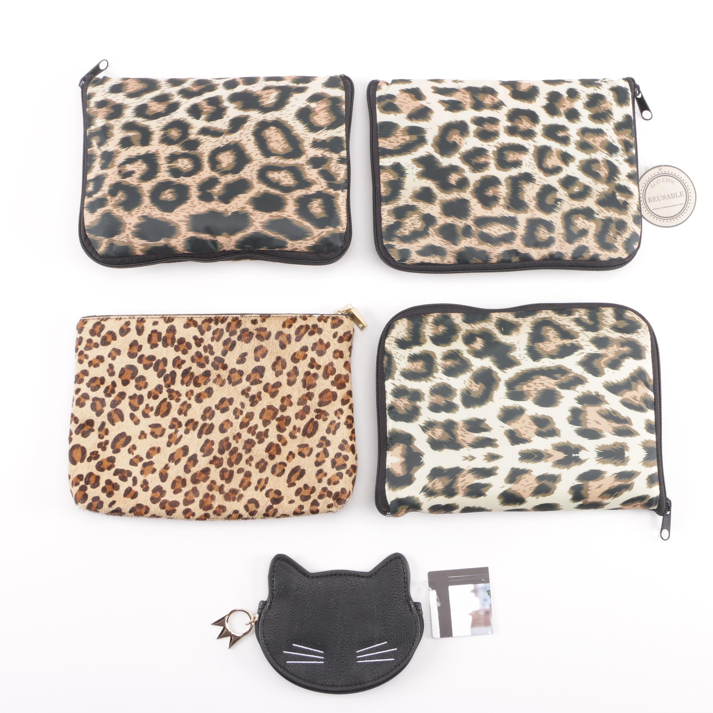Cheetah Print Pouch, Convertible Tote Bags, and Cat Coin Purse Including J. Crew