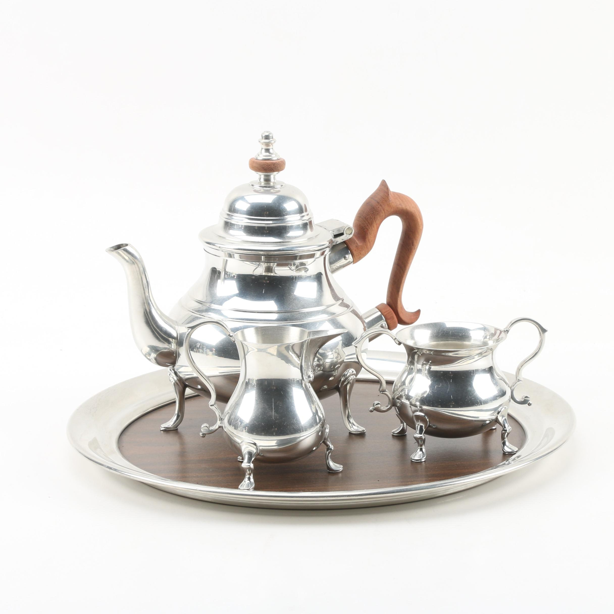"Kirk-Stieff ""Williamsburg"" Pewter Tea Set with Tray, Mid-Century"