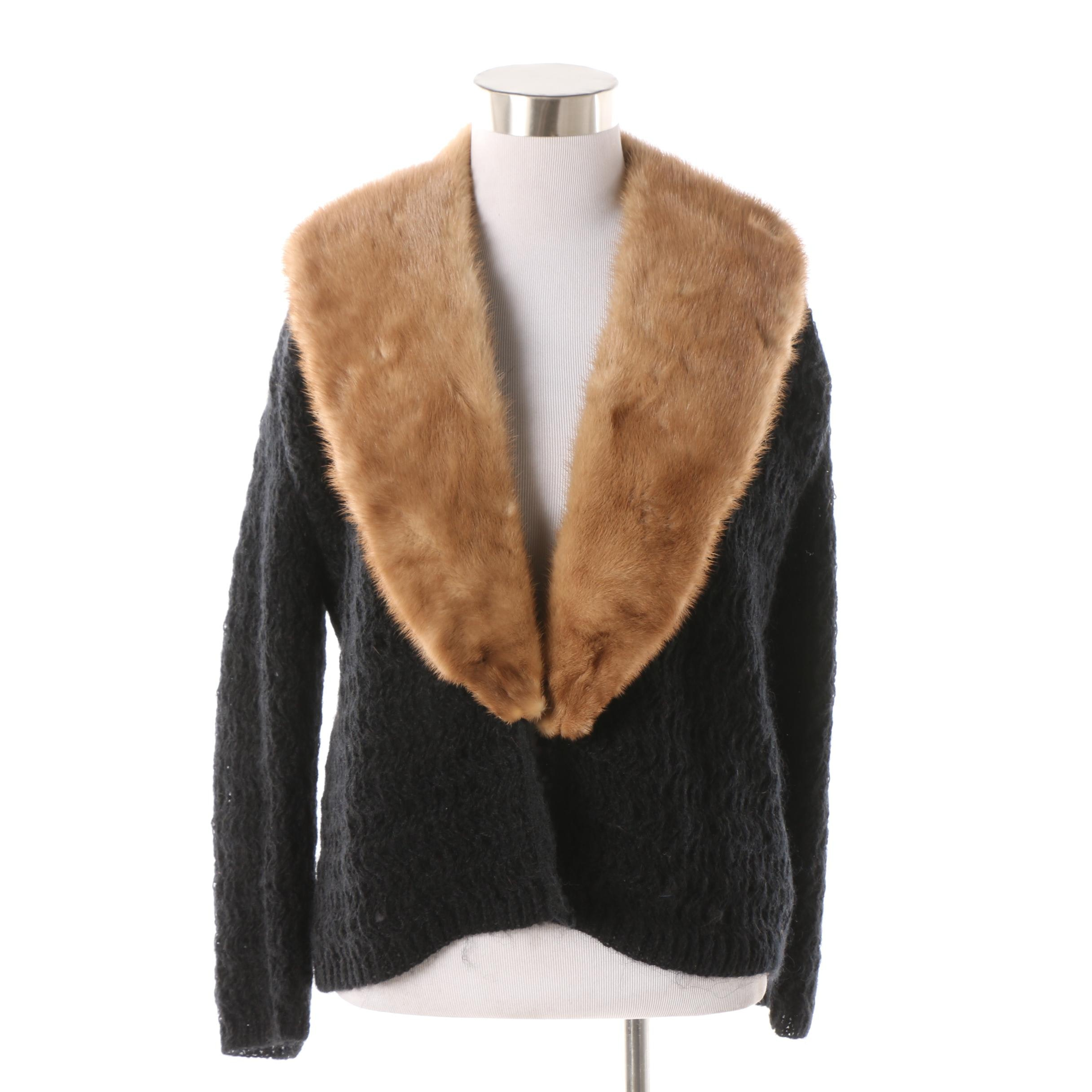 Vintage Sidney Gould Black Mohair Knit Cardigan with Mink Fur Collar