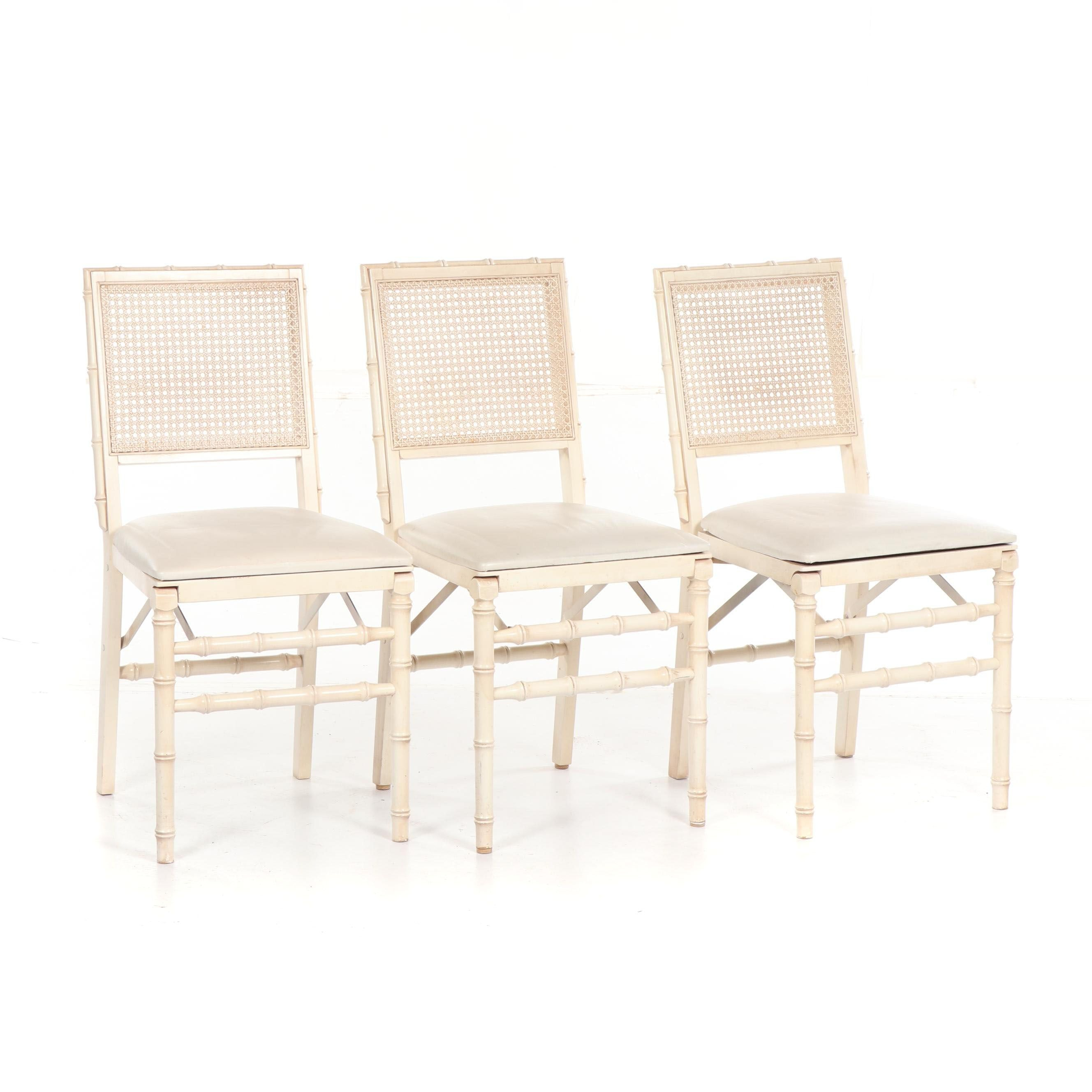 Painted Faux Bamboo Frame Cane Back Folding Chairs by Stakmore, 20th Century