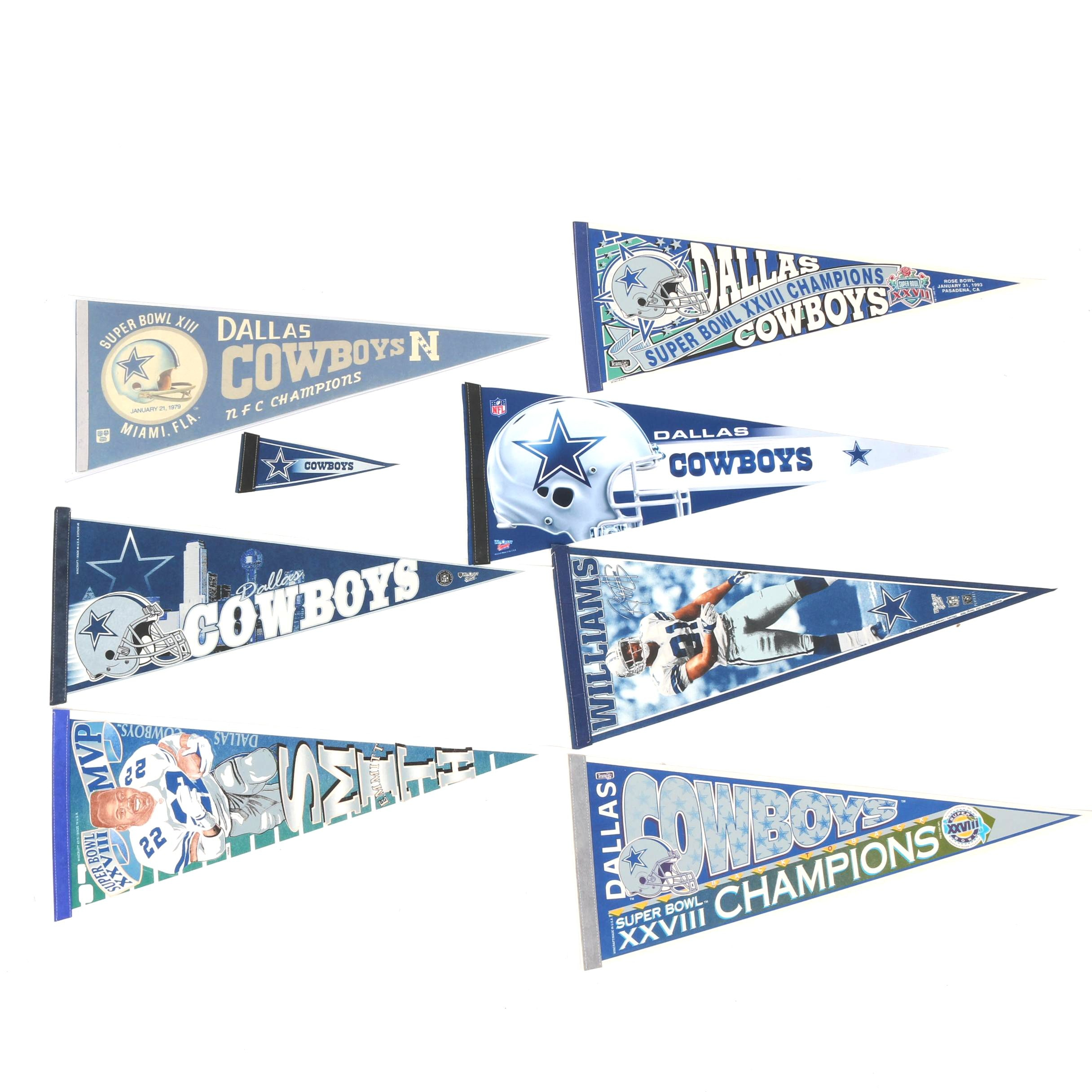Dallas Cowboys Pennants Including Vintage Superbowl XIII Pennant
