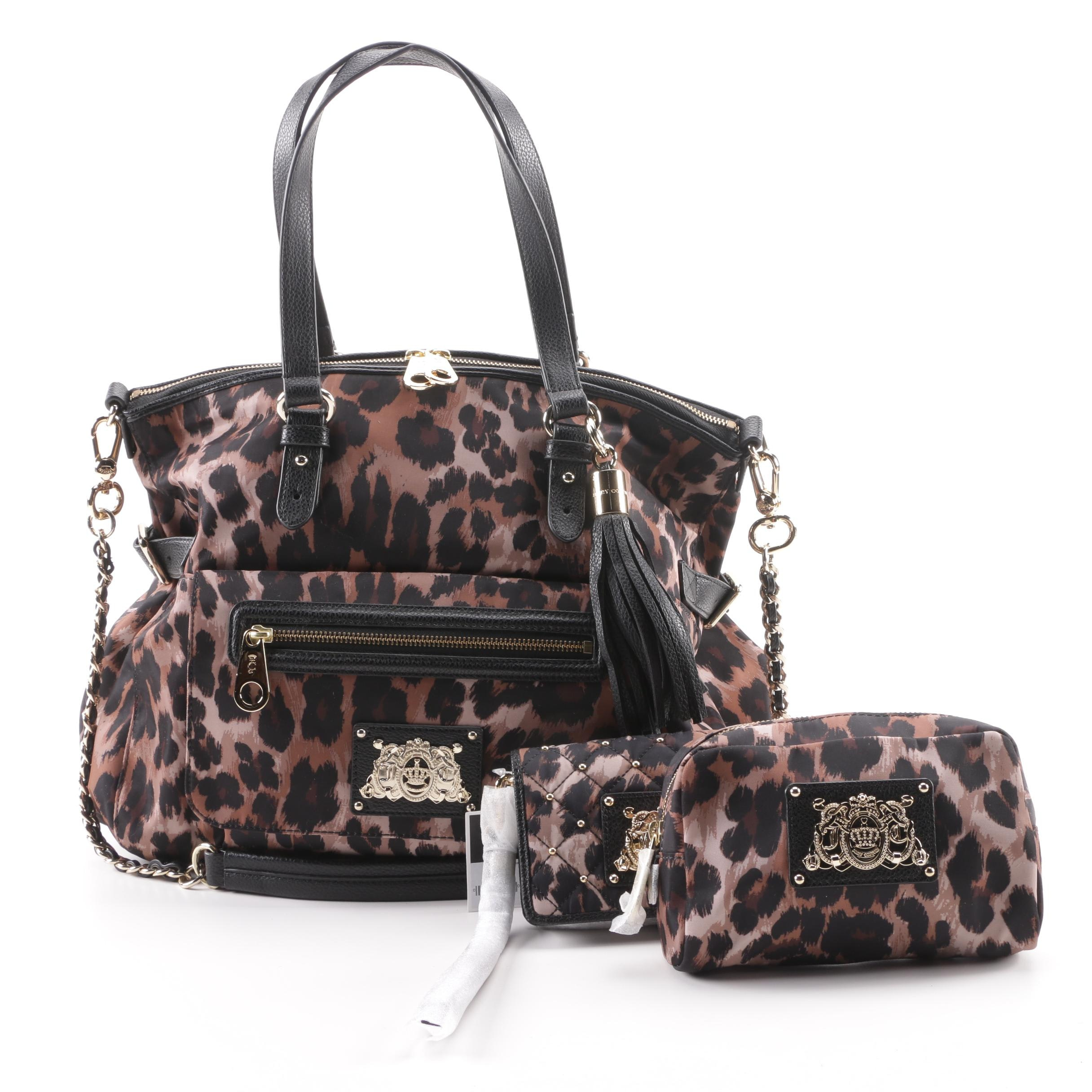 Juicy Couture Nylon Animal Print Satchel and Matching Accessories