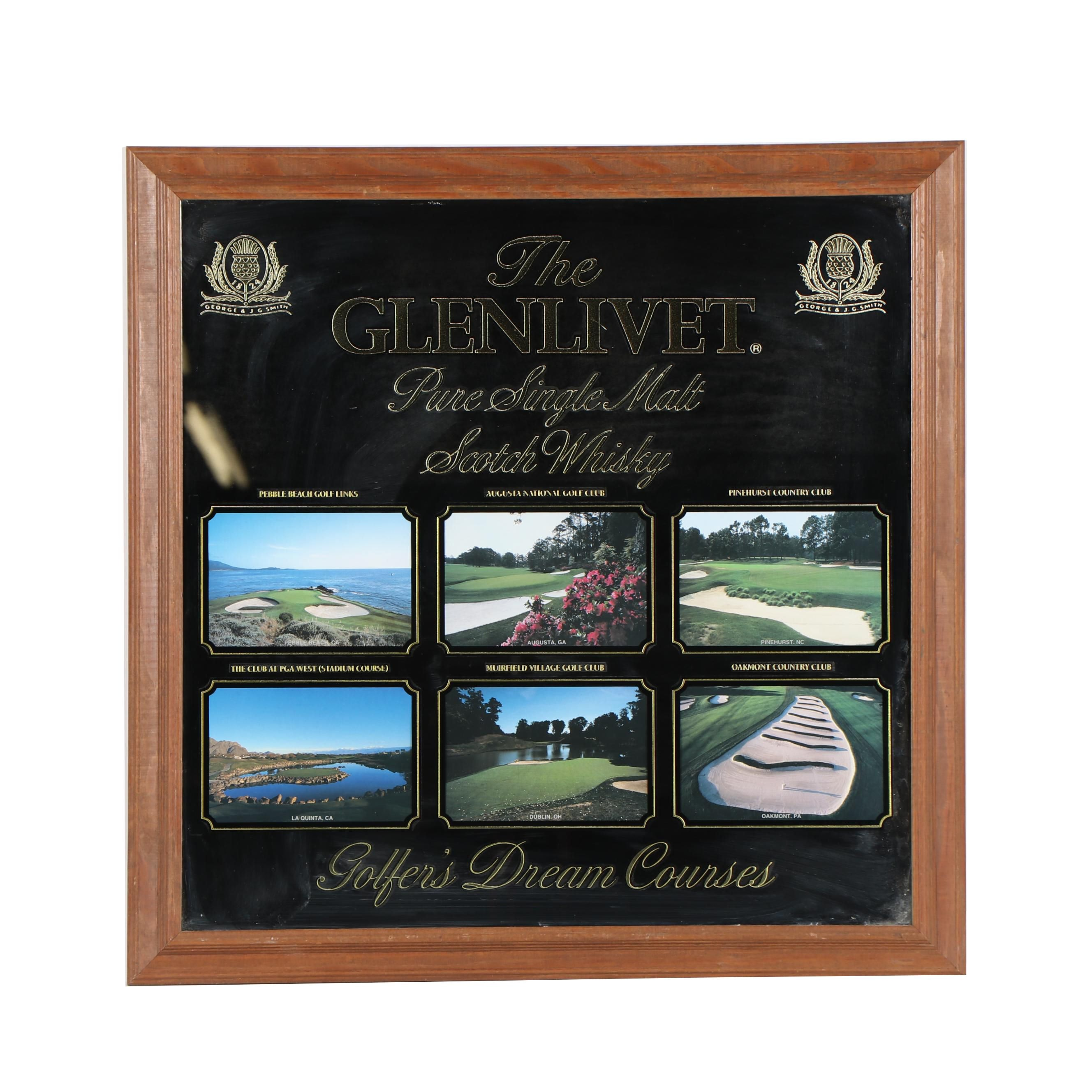 """The Glenlivet"" Scotch Whisky Mirror Featuring Golf Courses"