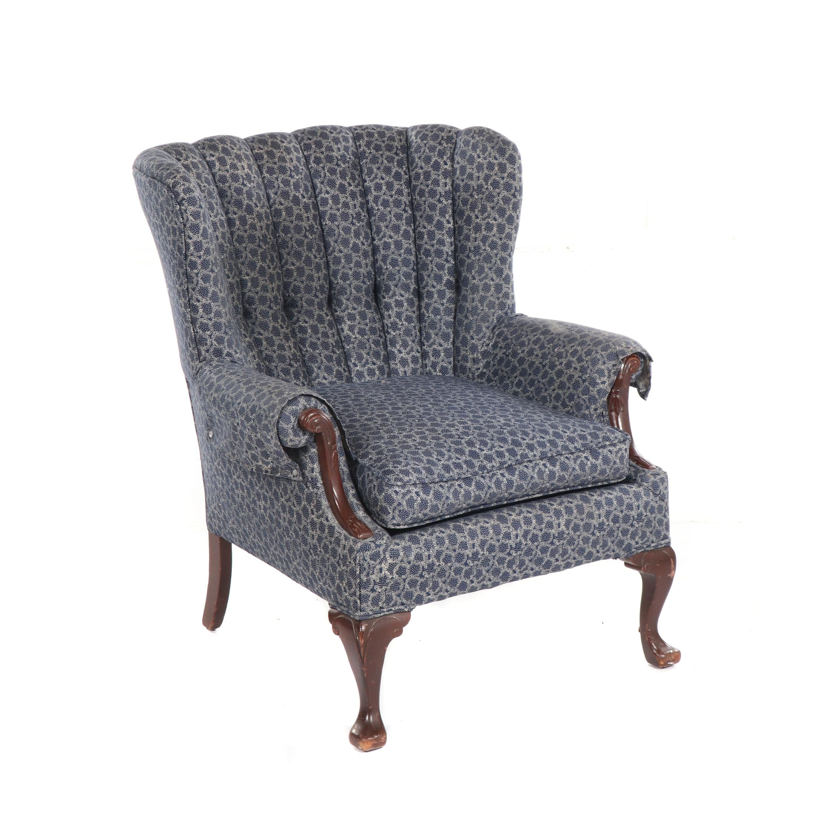 Queen Anne Style Upholstered Channel-Tufted Back Armchair, Mid-20th Century