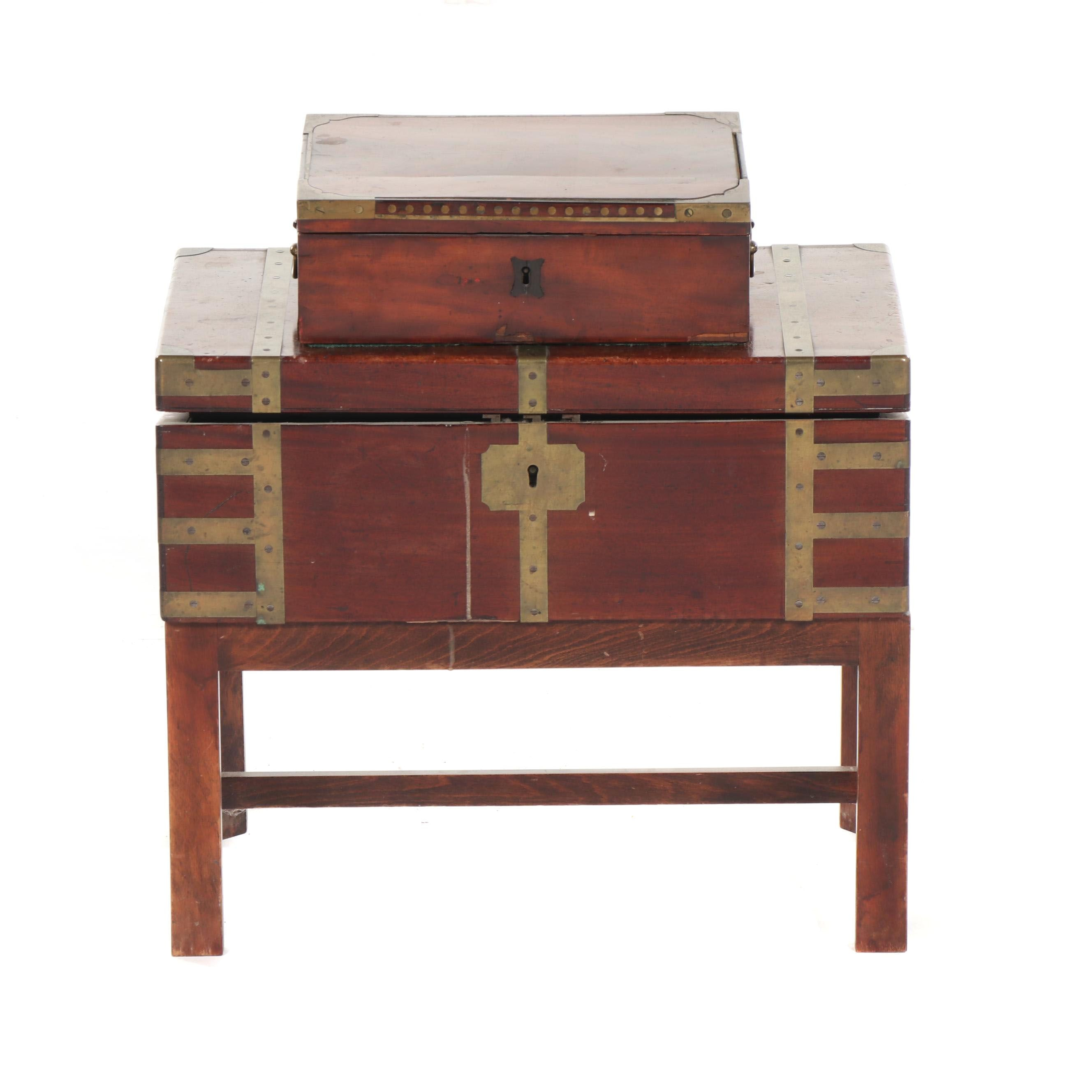 Campaign Style Mahogany Travel Desk Chest on Stand with Travel Box, 19th Century