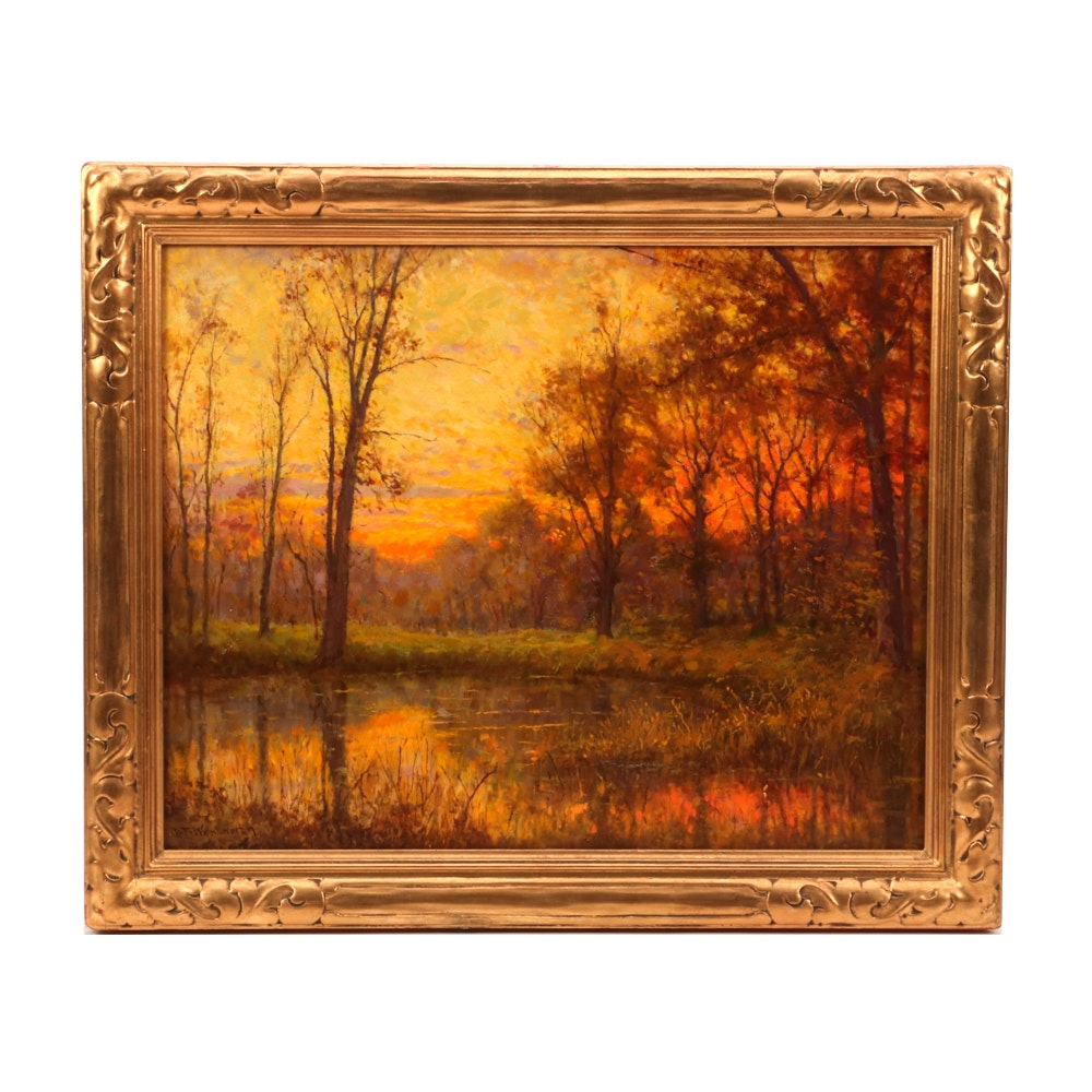Daniel F. Wentworth Autumn Landscape Oil Painting