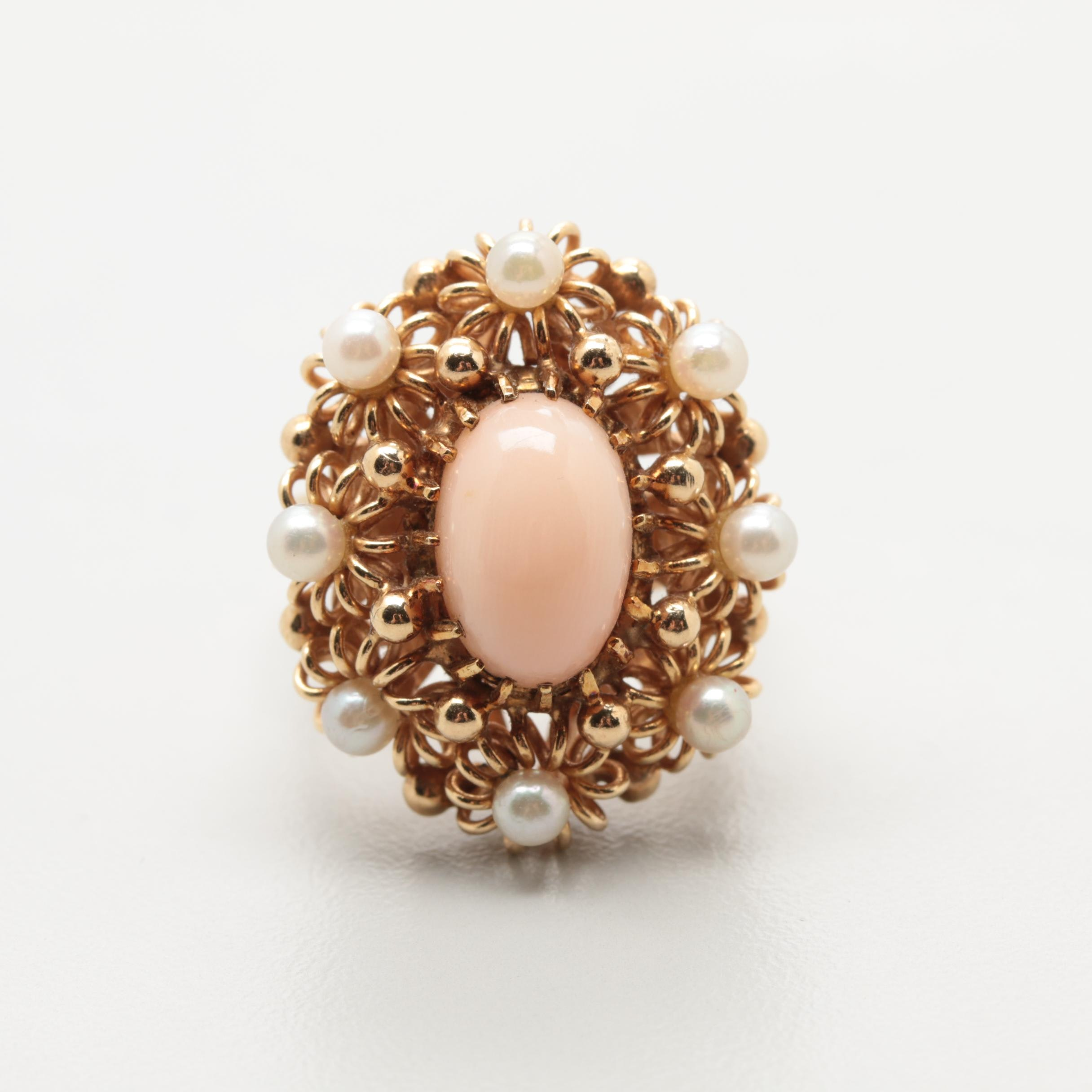 14K Yellow Gold Coral and Cultured Pearl Ring