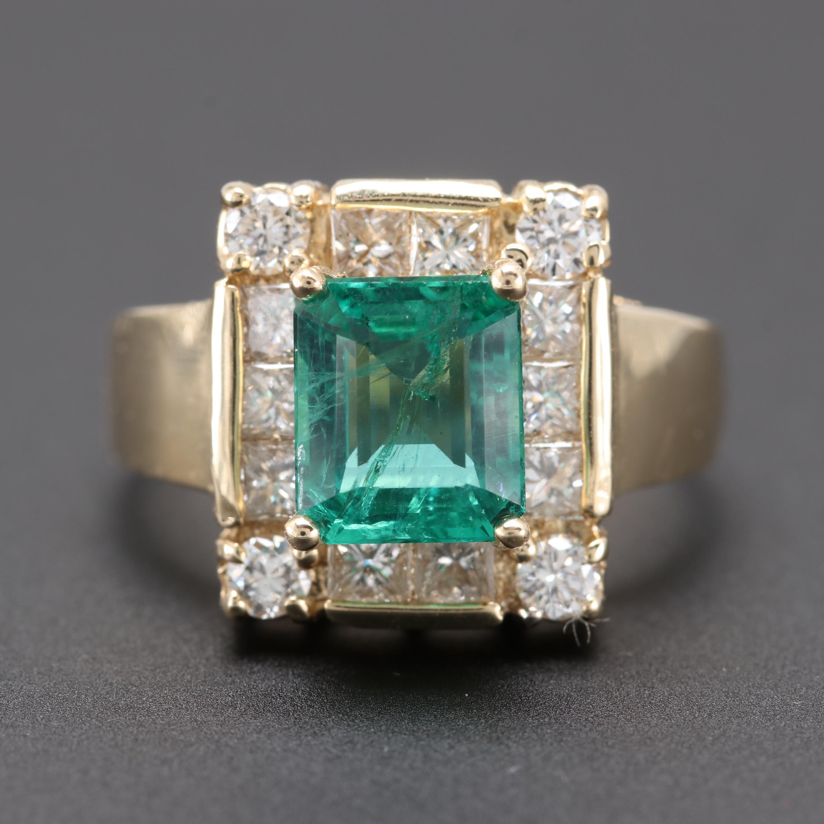 14K Yellow Gold 1.70 CT Emerald and 1.27 CTW Diamond Ring