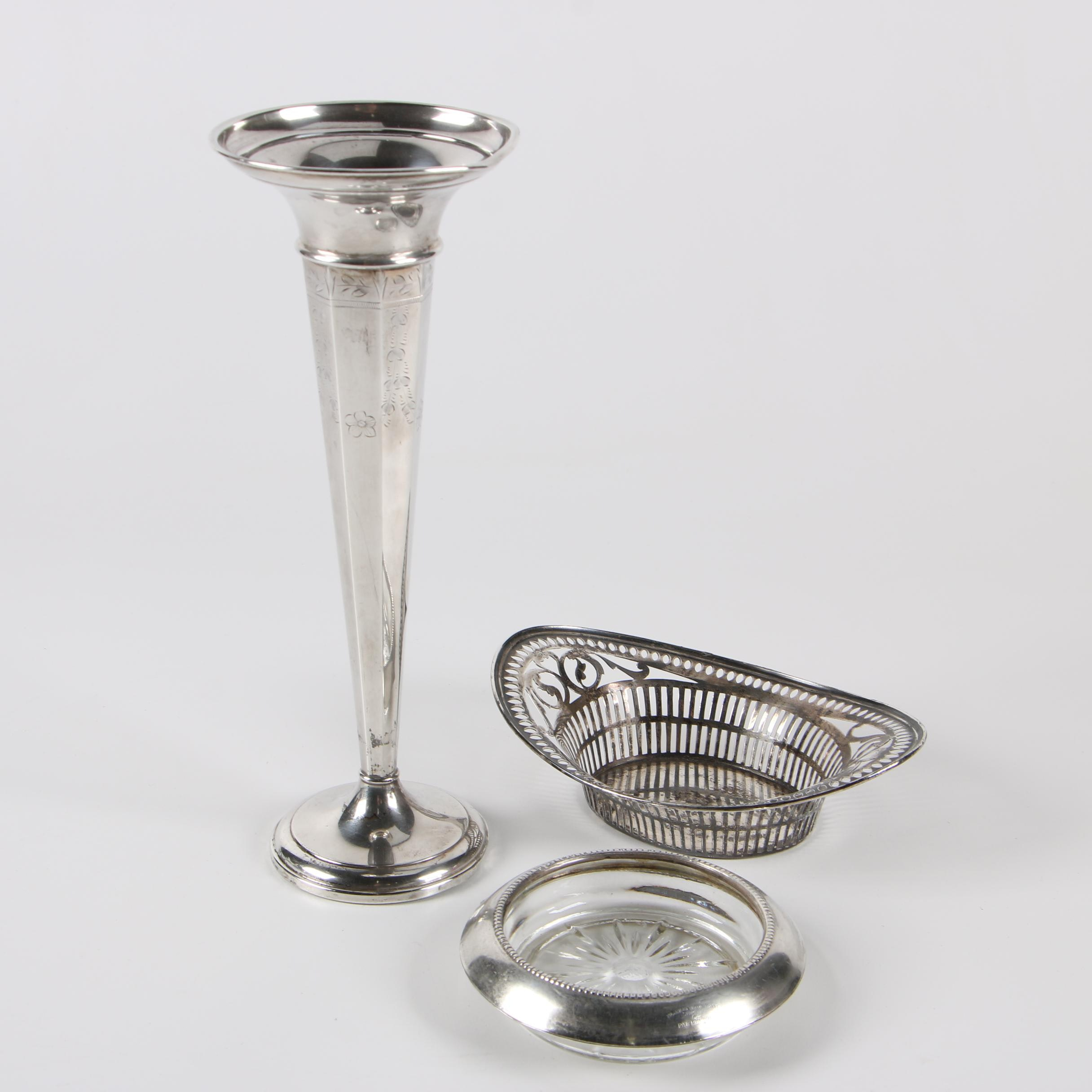 La Pierre Weighted Sterling Trumpet Vase with Coaster and Nut Dish