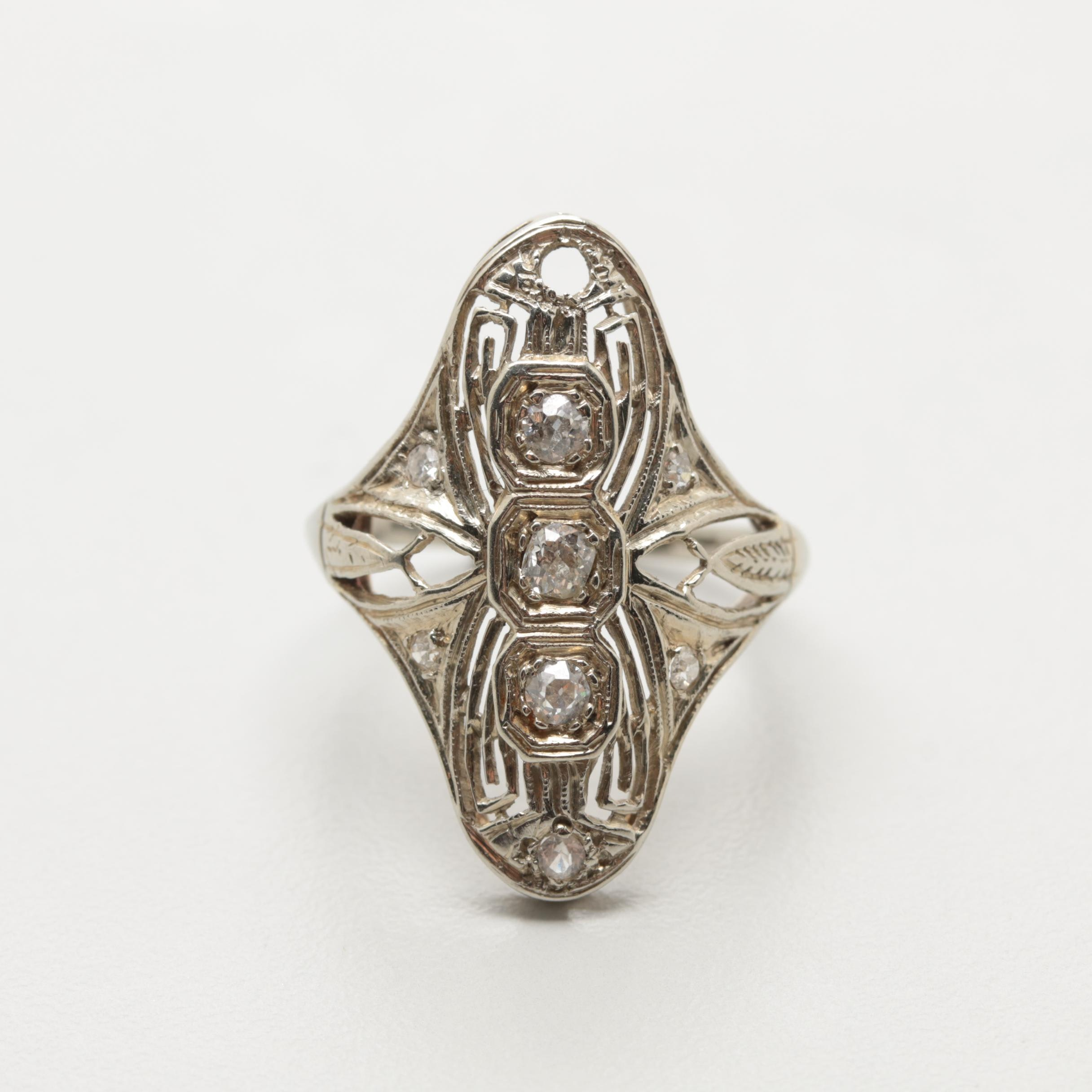 Art Deco 18K White Gold Diamond and Synthetic Spinel Filigree Ring