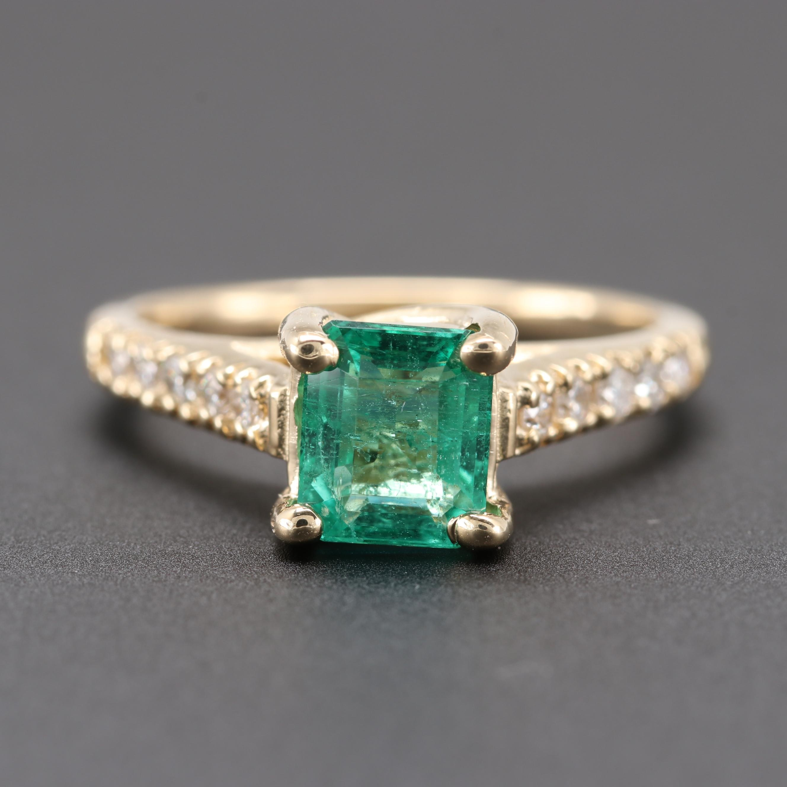 14K Yellow Gold 1.10 CT Emerald and Diamond Ring