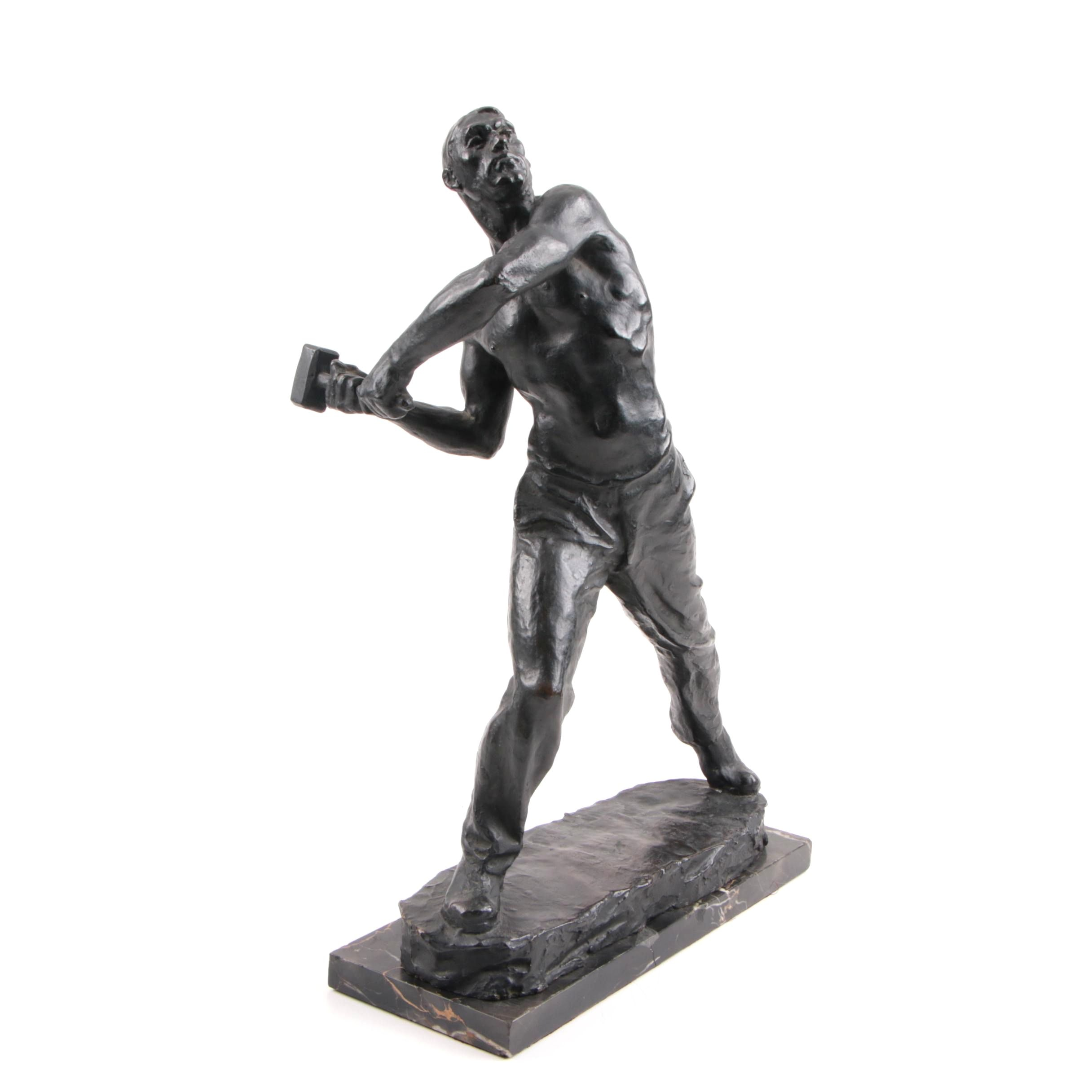 Max Kalish Circa 1930 Bronze Sculpture of Laborer on Original Porto D'Oro Base