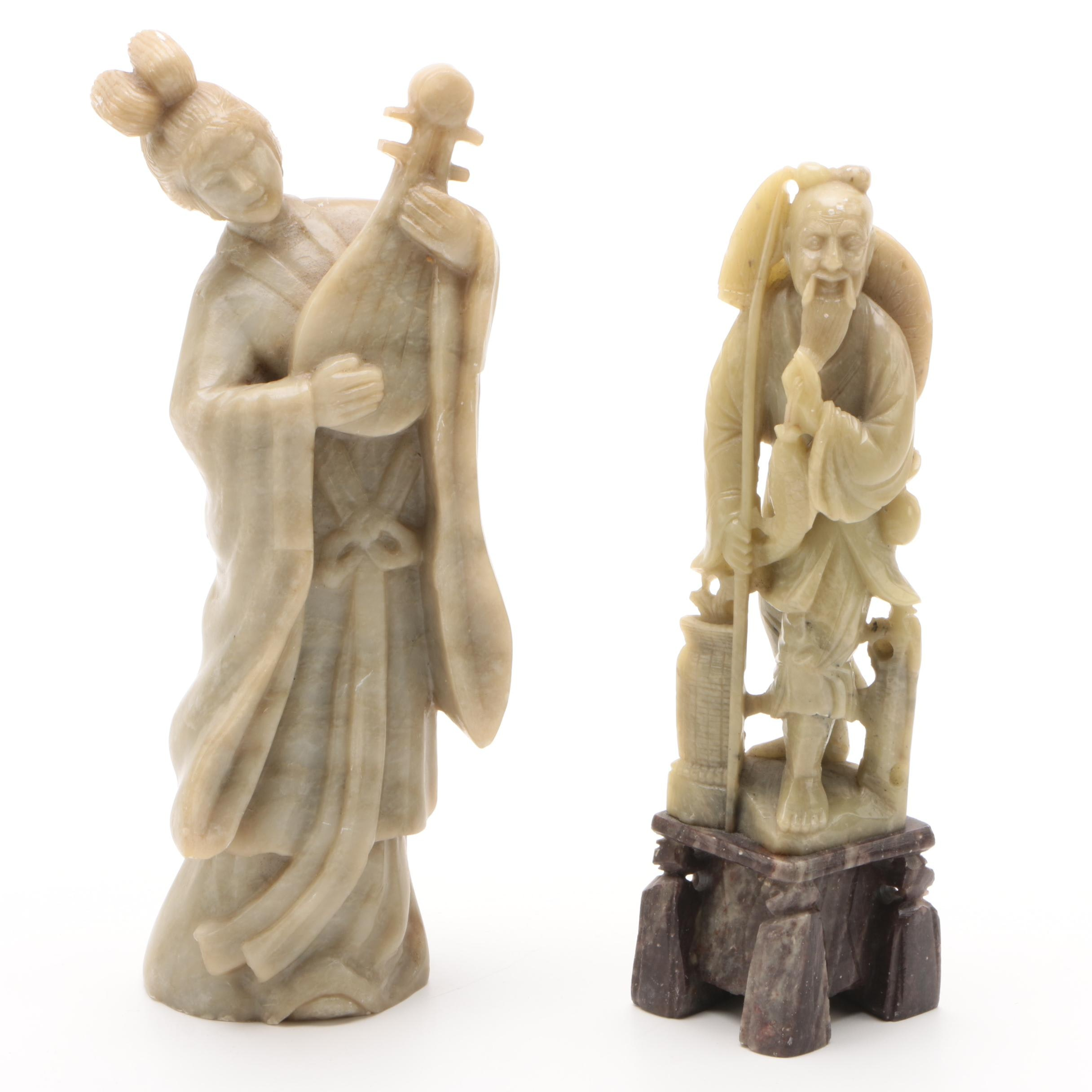 Chinese Carved Stone Female Liuqin Player and Fisherman Figurines