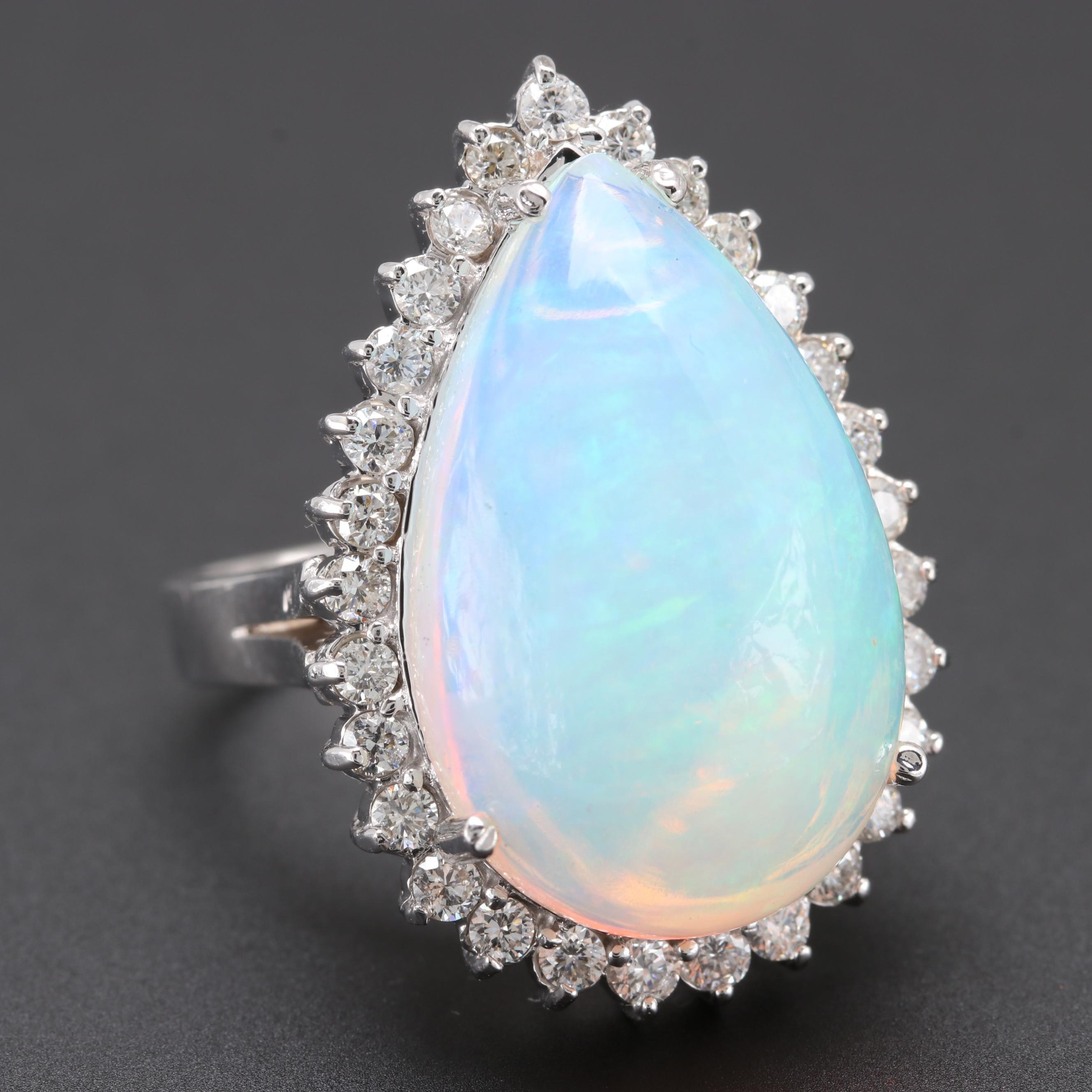 18K White Gold 10.95 CT Opal and Diamond Ring