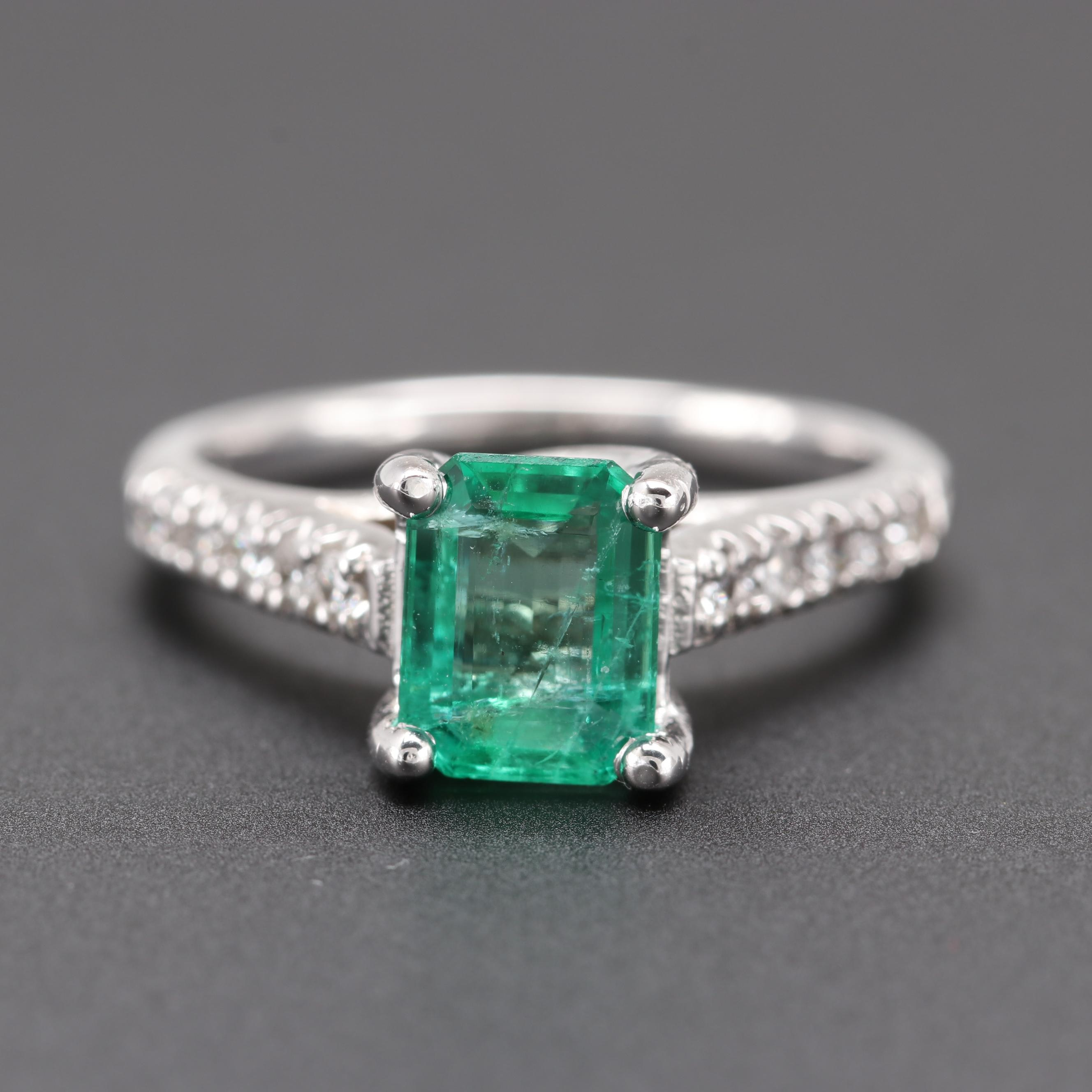 14K White Gold 1.01 CT Emerald and Diamond Ring
