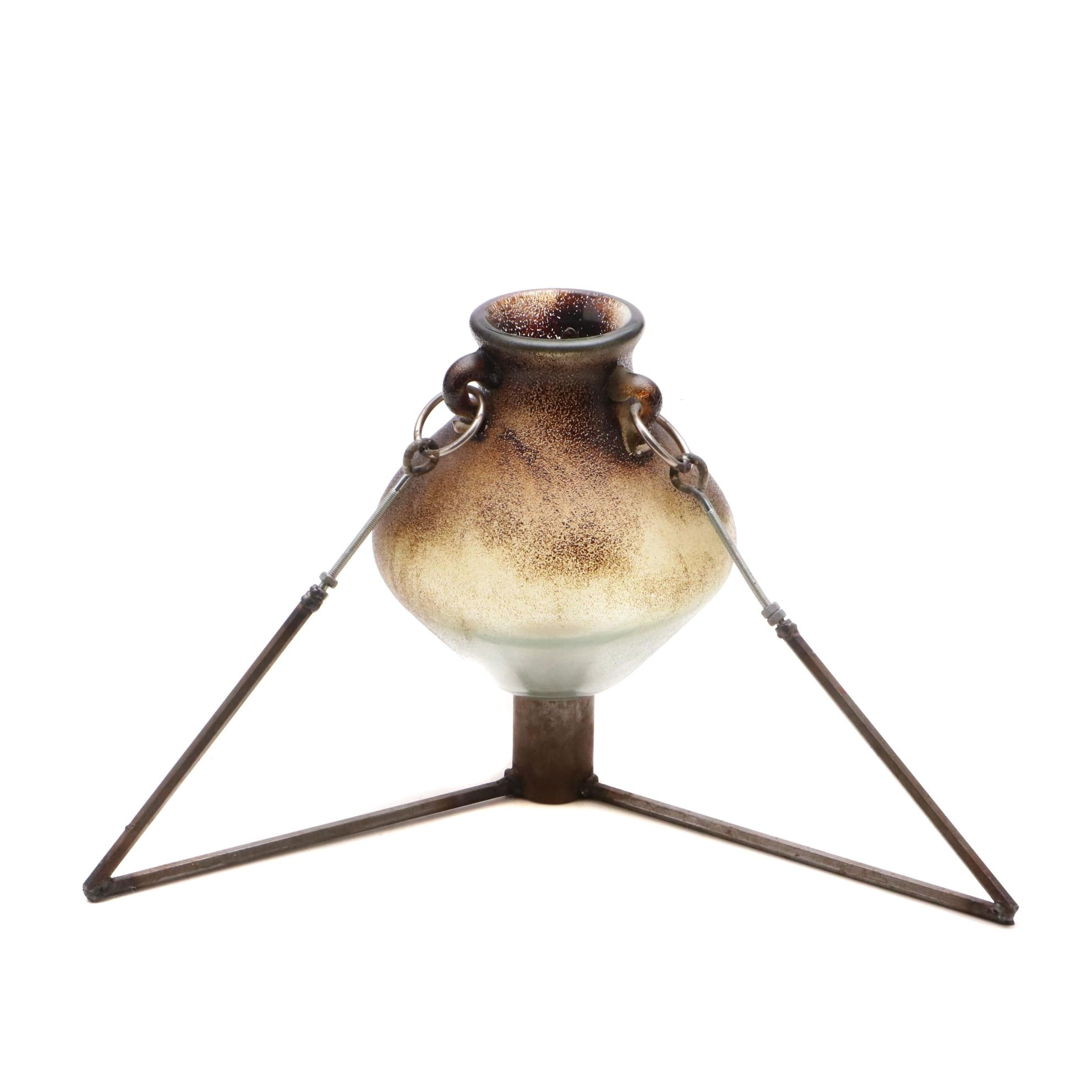 Art Glass Vase with Stand