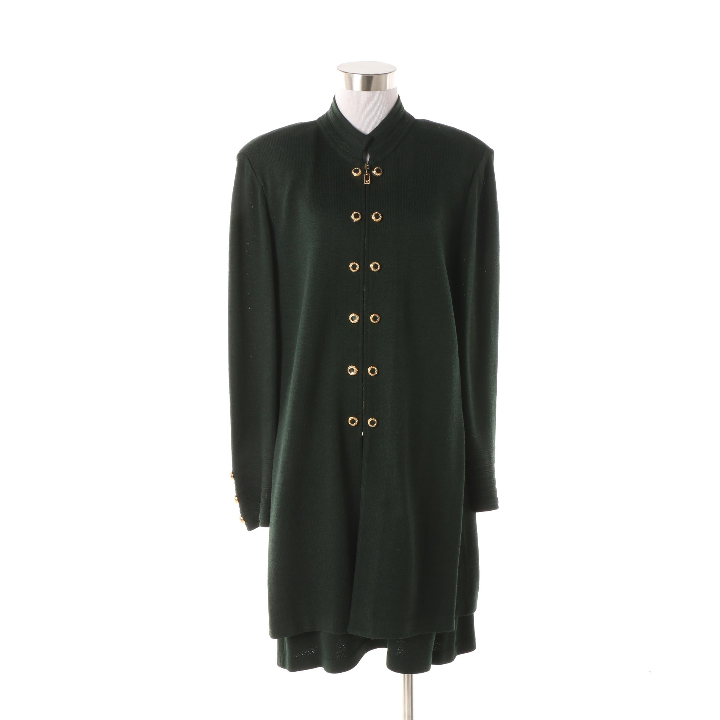 St. John Collection Dark Green Skirt Suit with Gold Tone Double Buttons