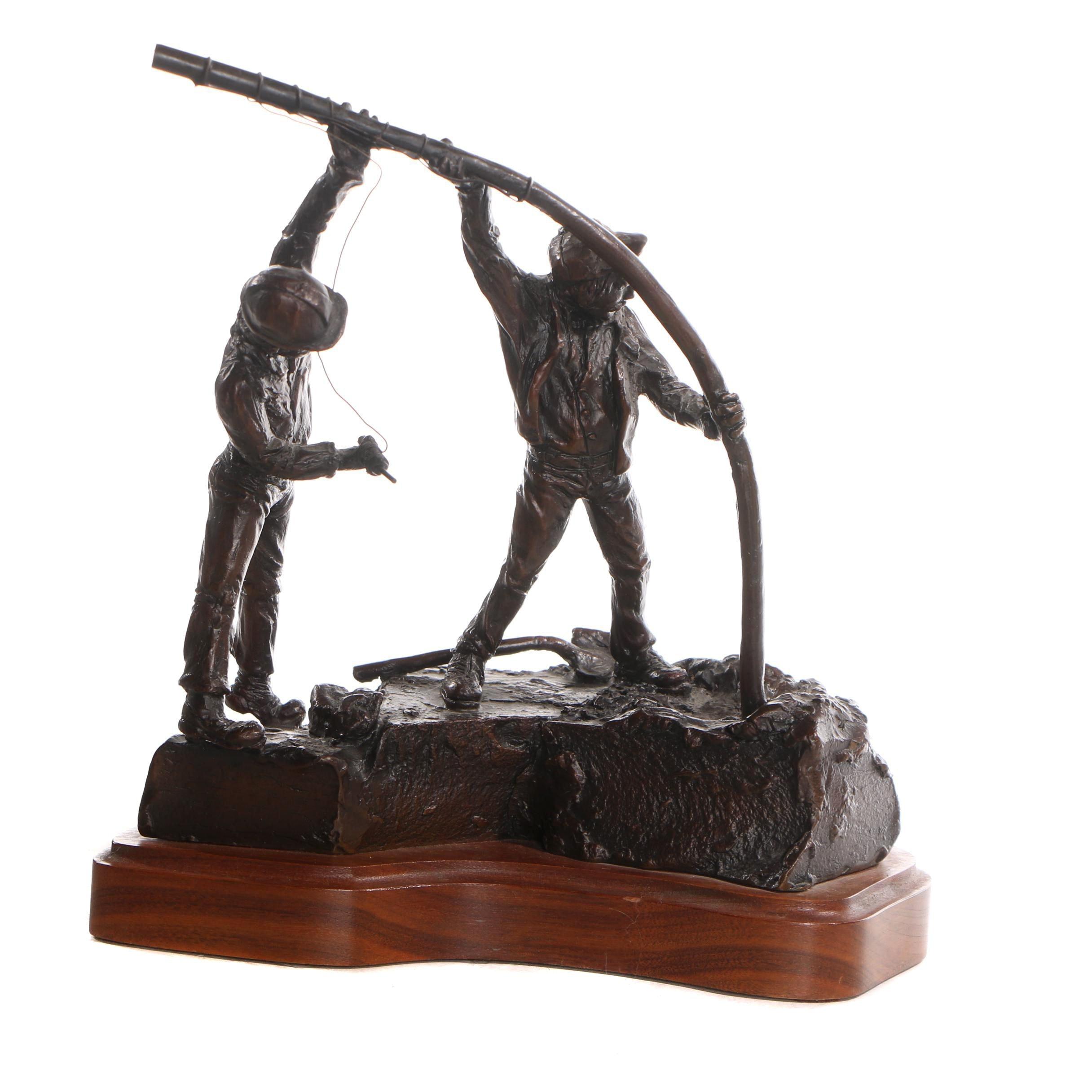Bronze-Tone Metal Sculpture after Steve Duffy