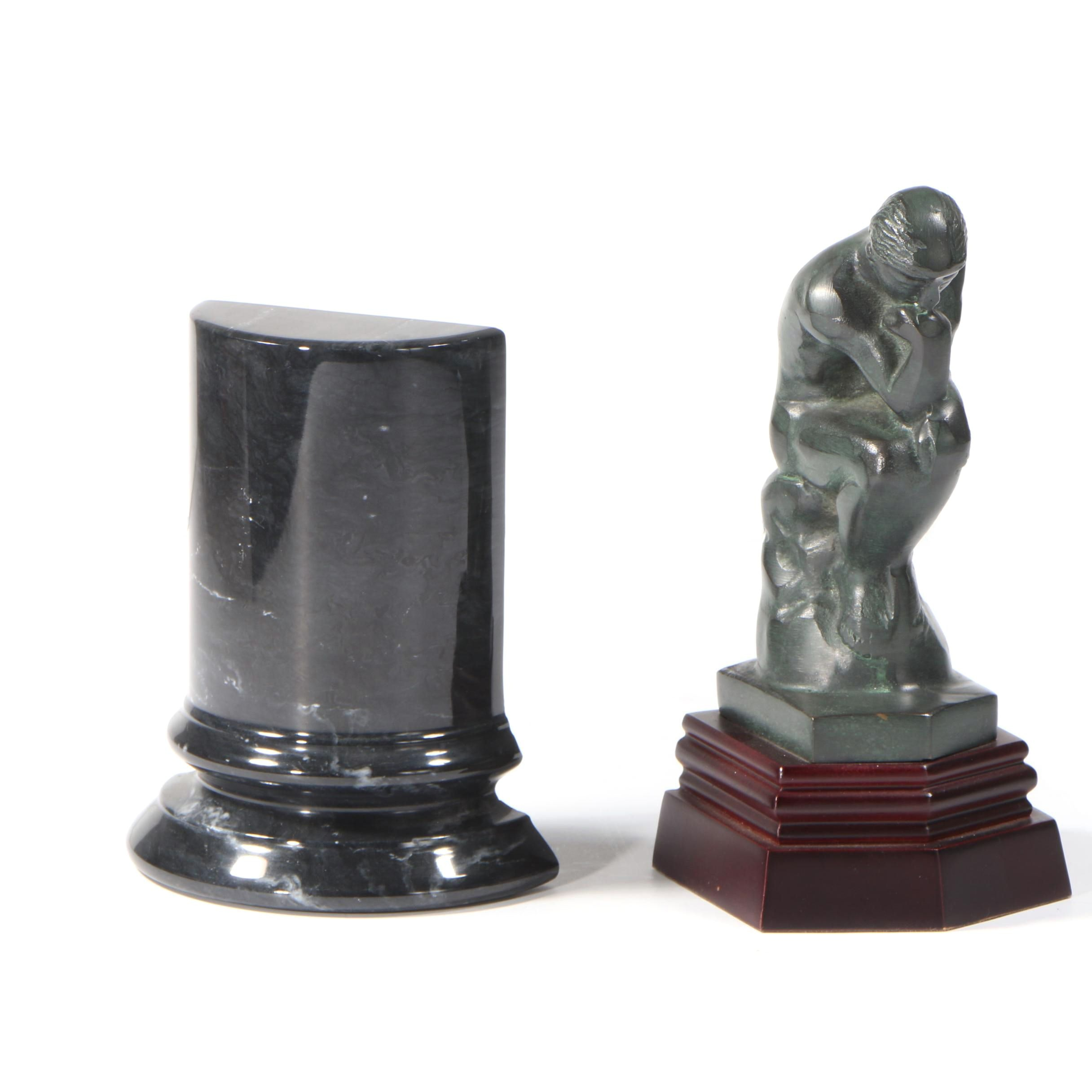 "Marble Bookend and Plaster Replica Figurine after Auguste Rodin ""The Thinker"""