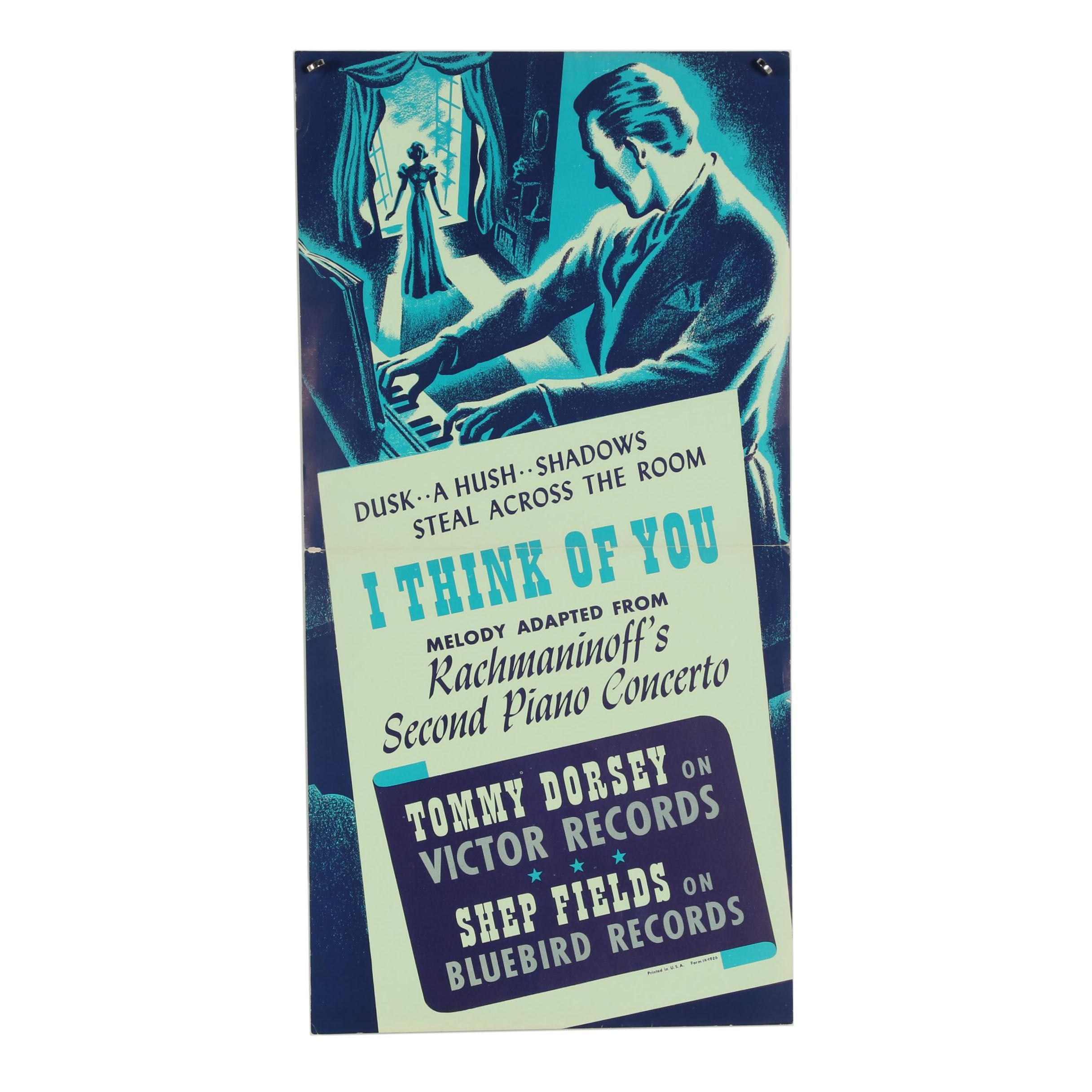 "Victor and Bluebird Records Lithograph Poster ""I Think of You"""