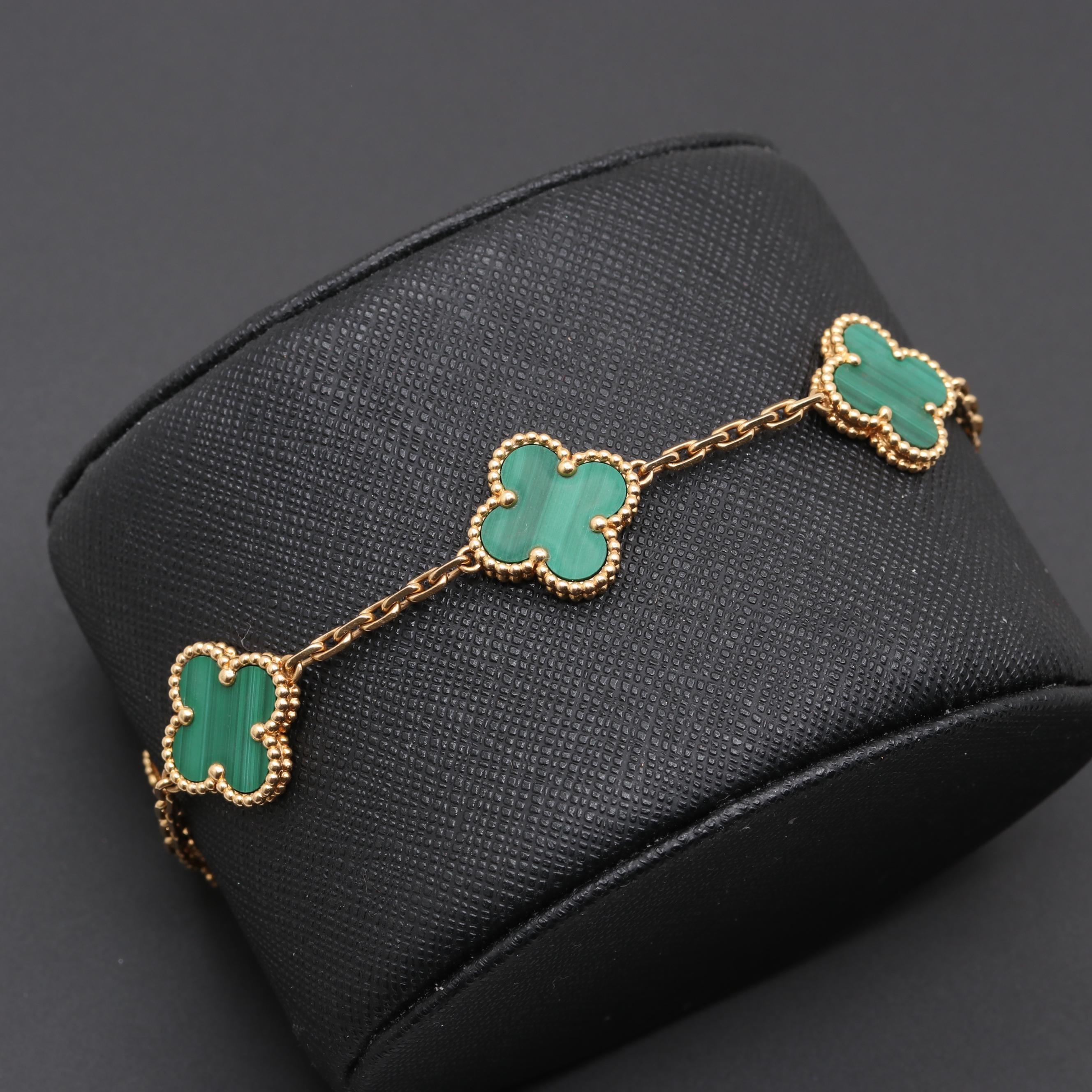 "Van Cleef & Arpels ""Alhambra"" 18K Yellow Gold Malachite Bracelet"