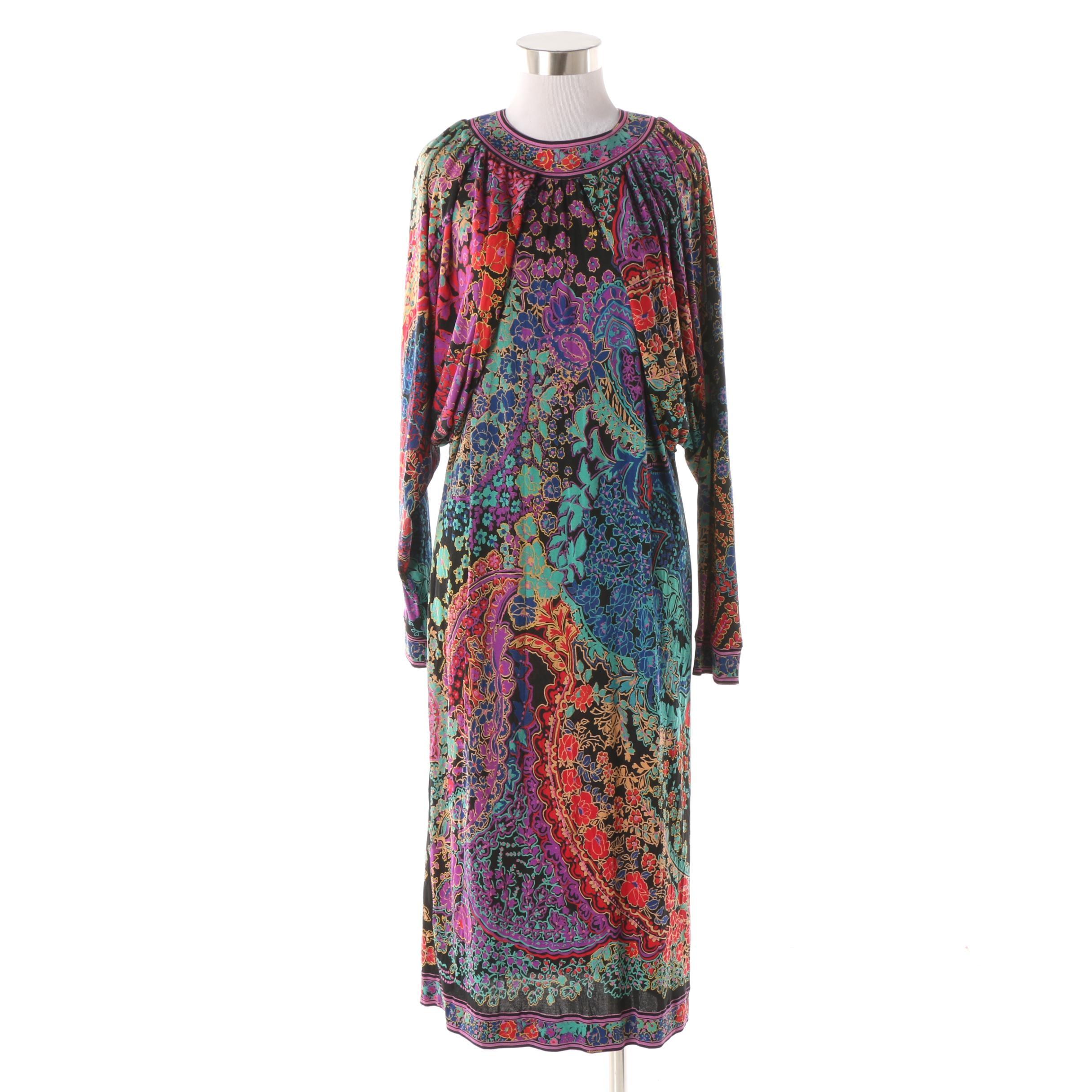 Leonard Studio Paris Mikado Multicolor Silk Print Jersey Dress, 1970s Vintage