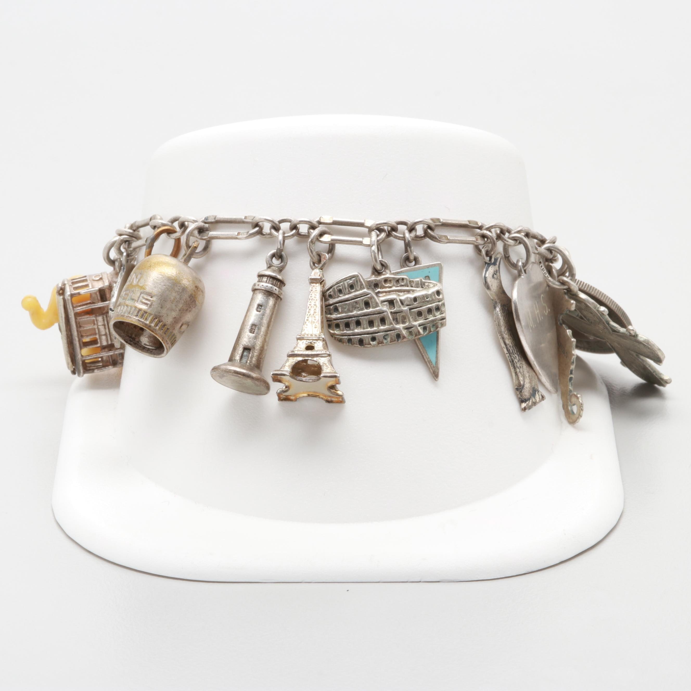 Vintage Sterling Silver Charm Bracelet with Plastic and Turquoise Accents