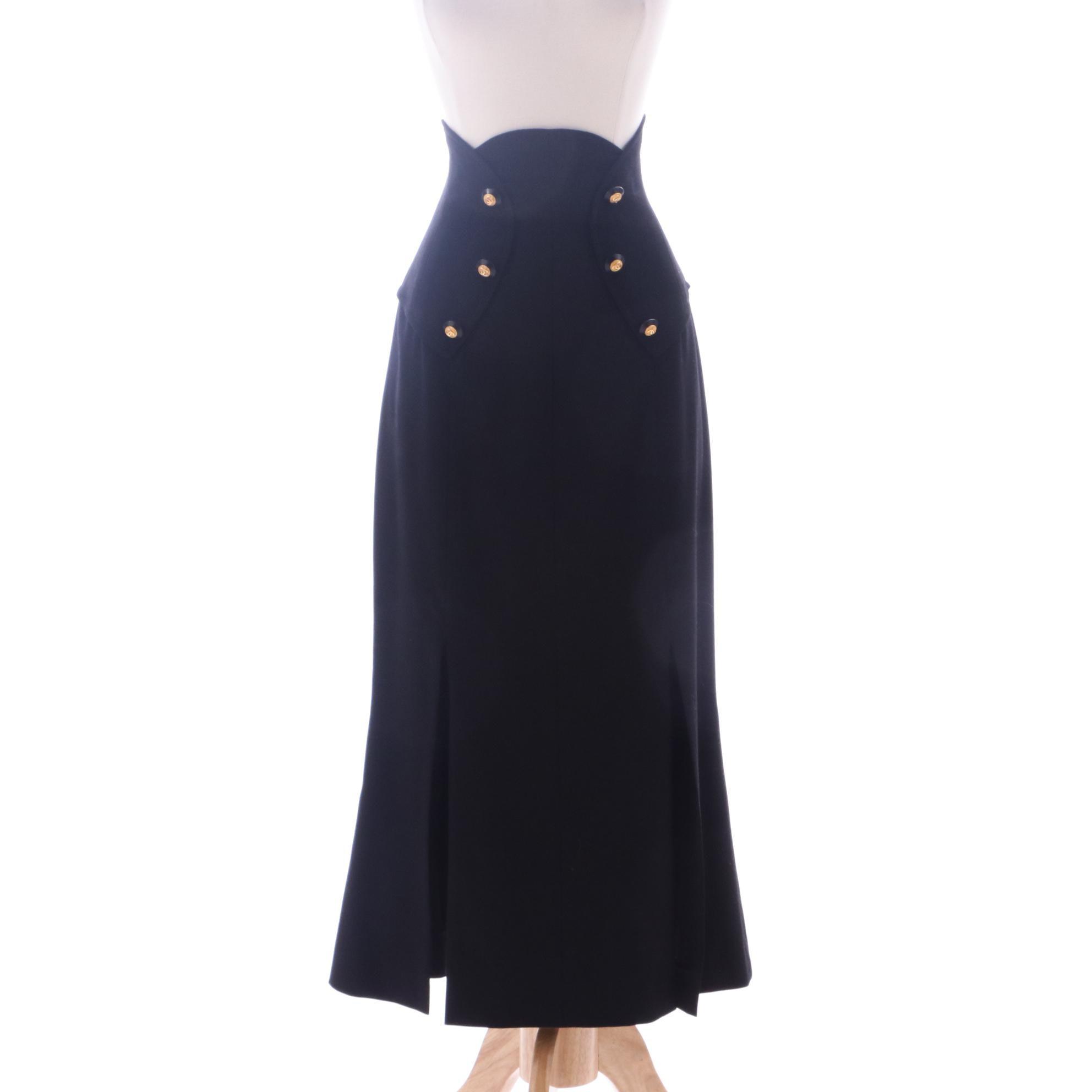 1990s Chanel Black High Waist Trumpet Skirt