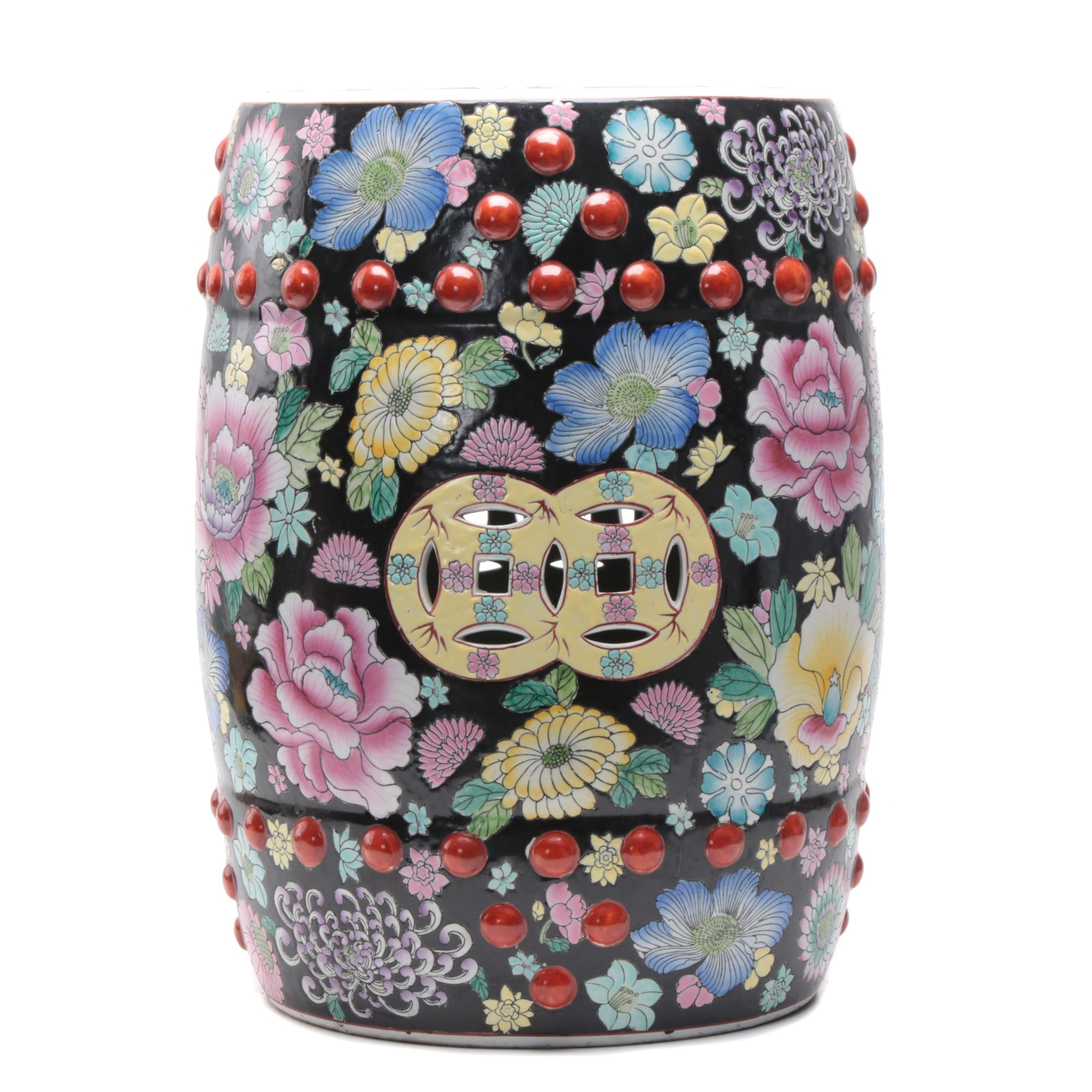 Chinese Famille Noire Style Ceramic Garden Stool