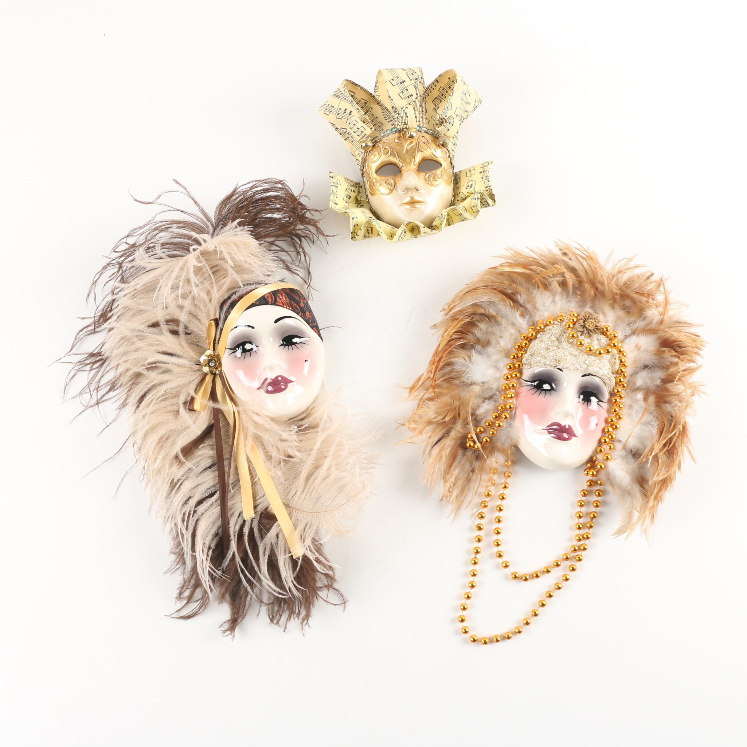 Unique Creations and Venetian Made Carnival Style Decorative Masks
