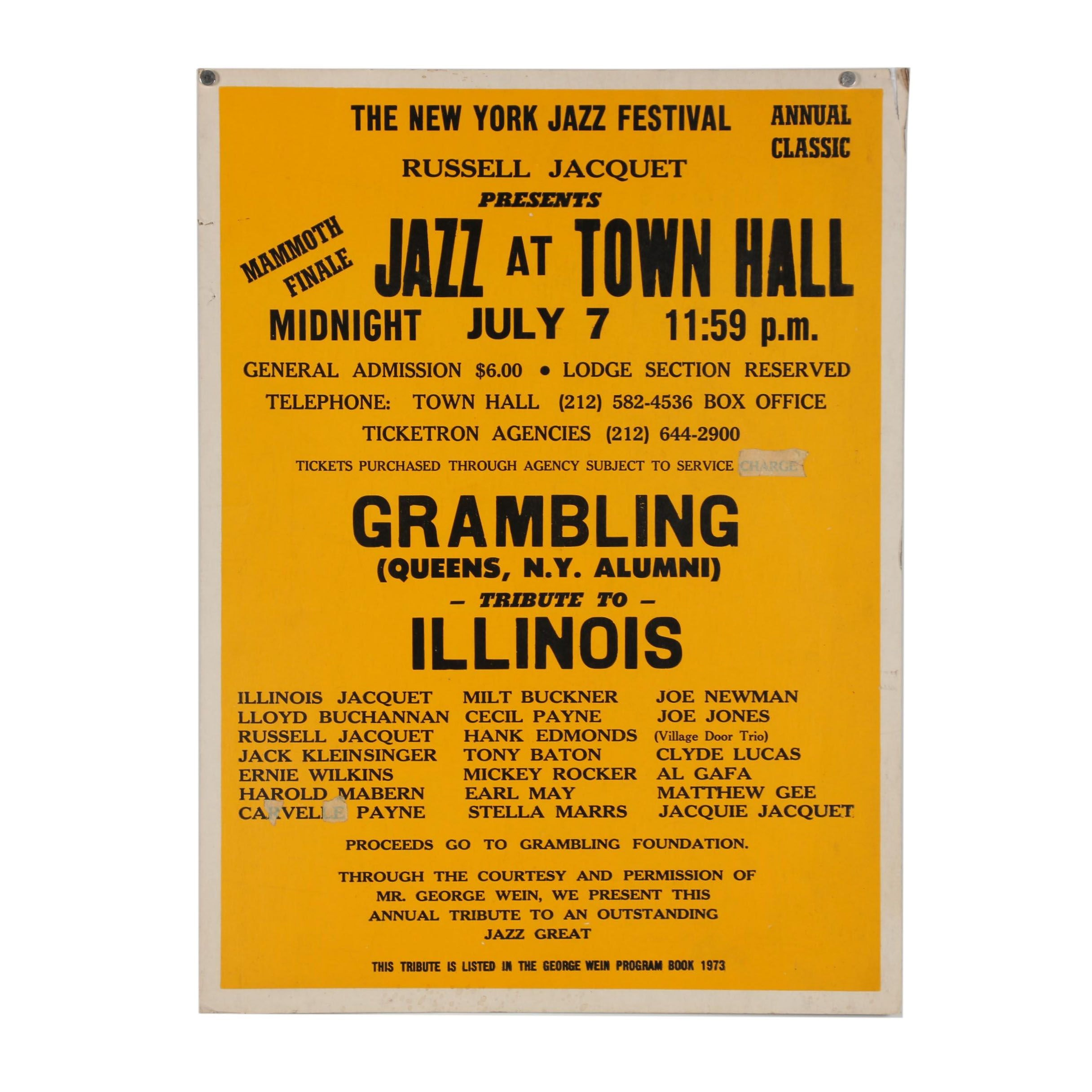 "New York Jazz Festival Poster ""Jazz at Town Hall"""