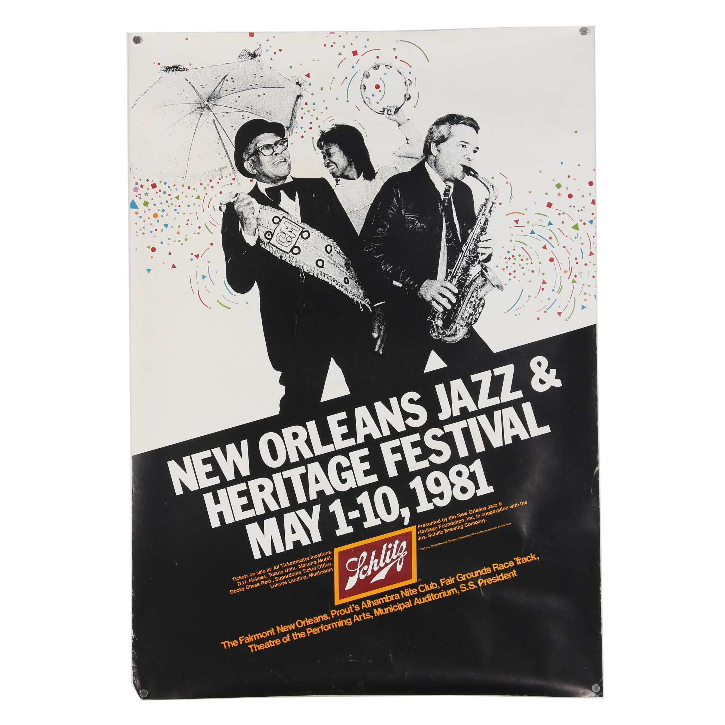 "Offset Lithograph Poster ""New Orleans Jazz & Heritage Festival"""