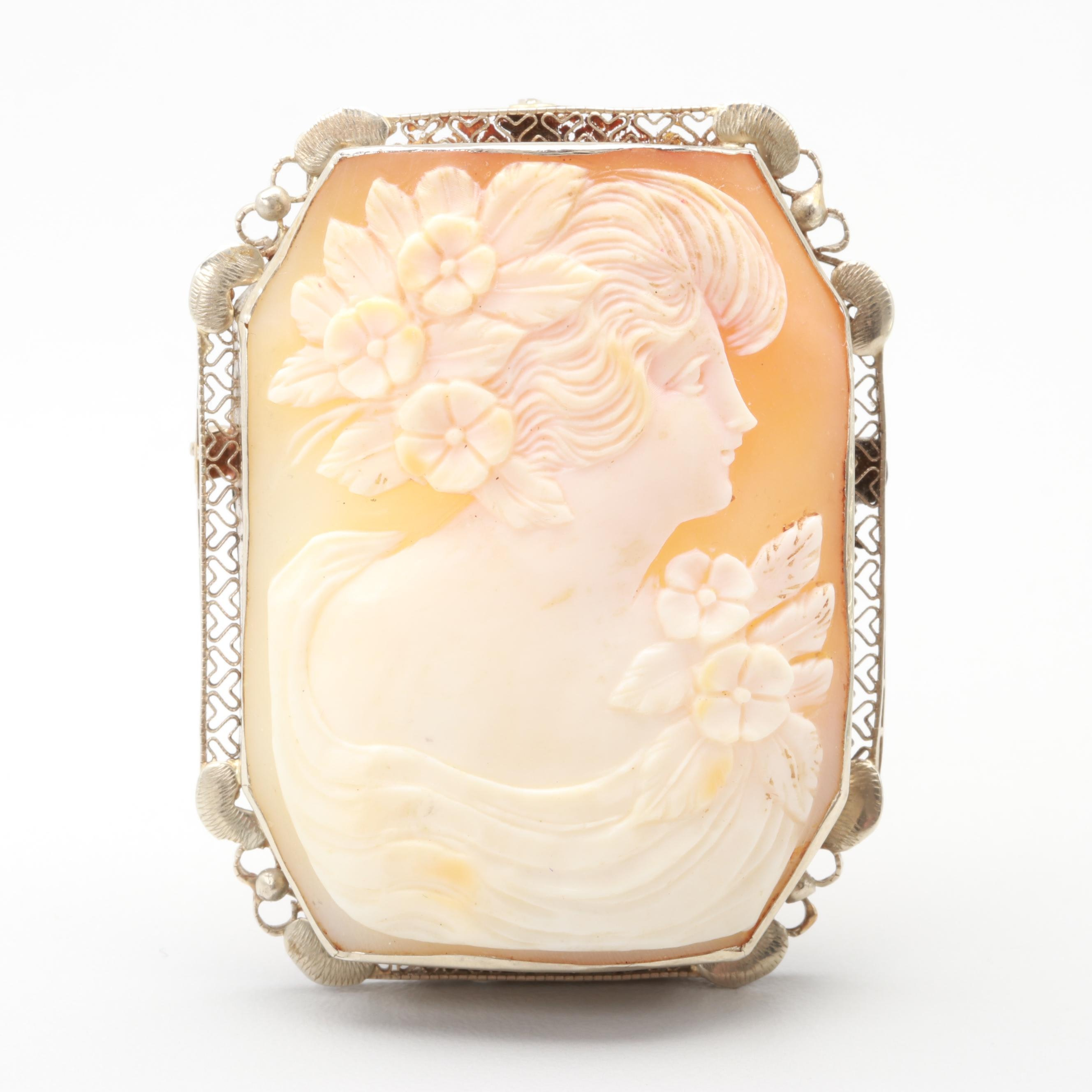 Vintage 14K Yellow Gold Shell Cameo Converter Brooch