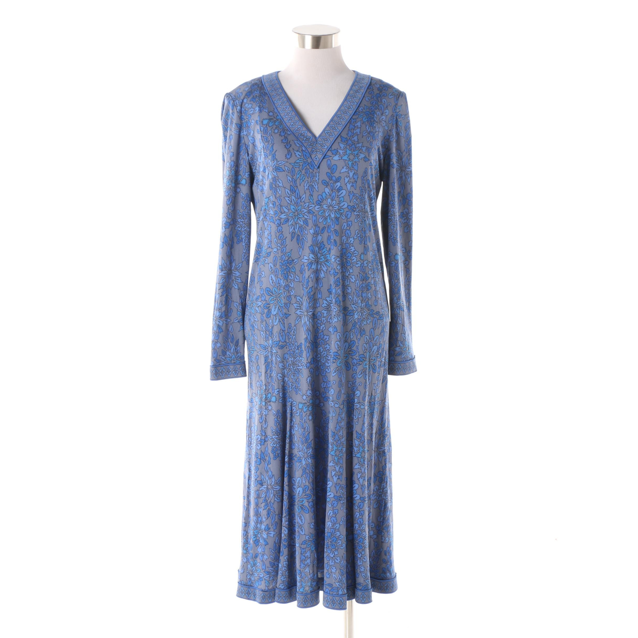 1970s Vintage Averardo Bessi Blue Floral Print Silk Jersey Dress