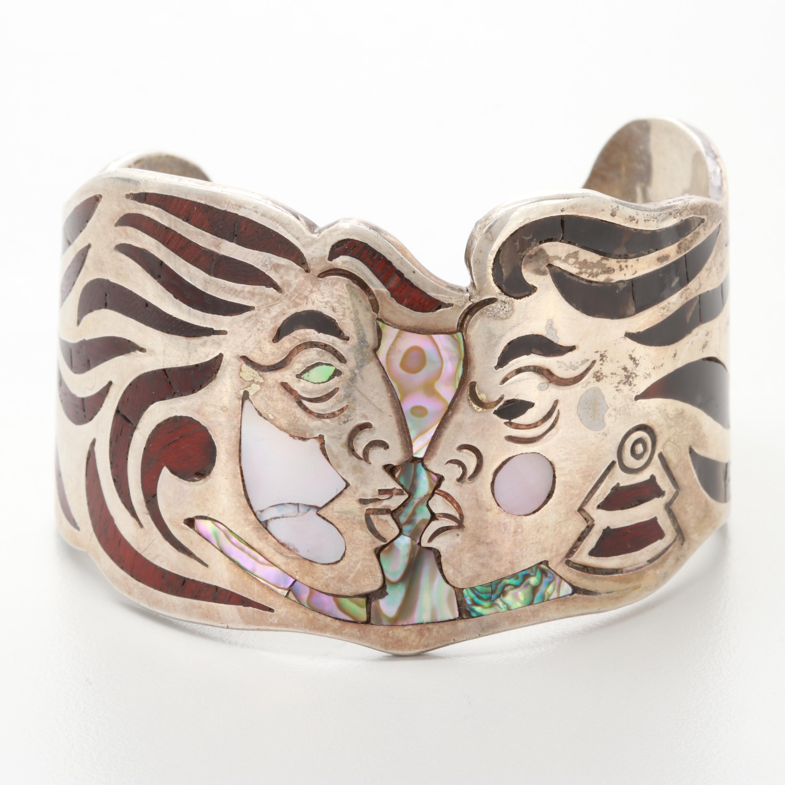 Taxco JRZ Sterling Silver Mother of Pearl, Abalone and Horn Cuff Bracelet
